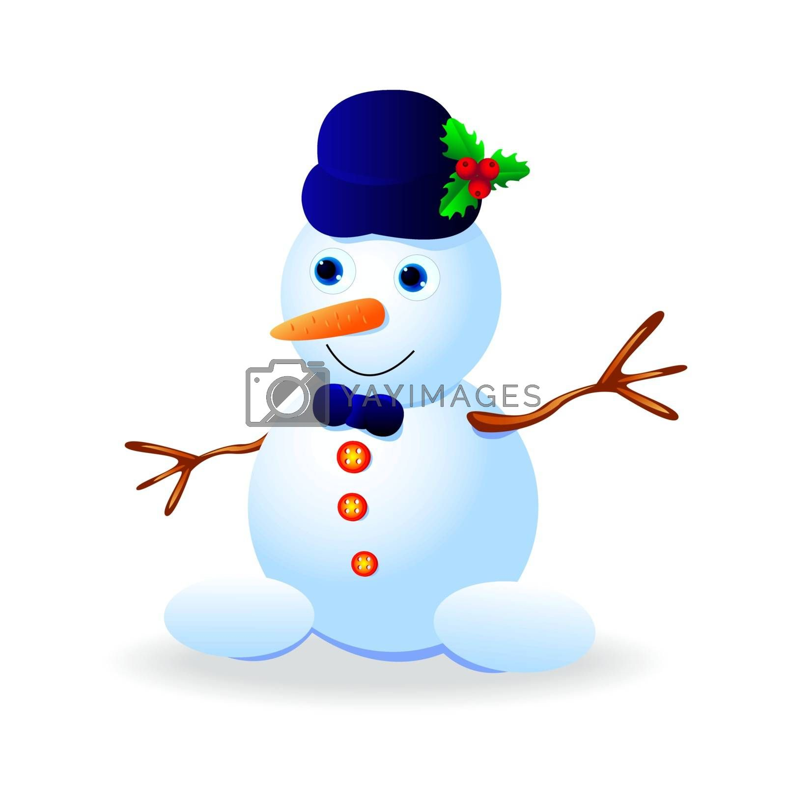 Funny snowman in a hat on a white background.