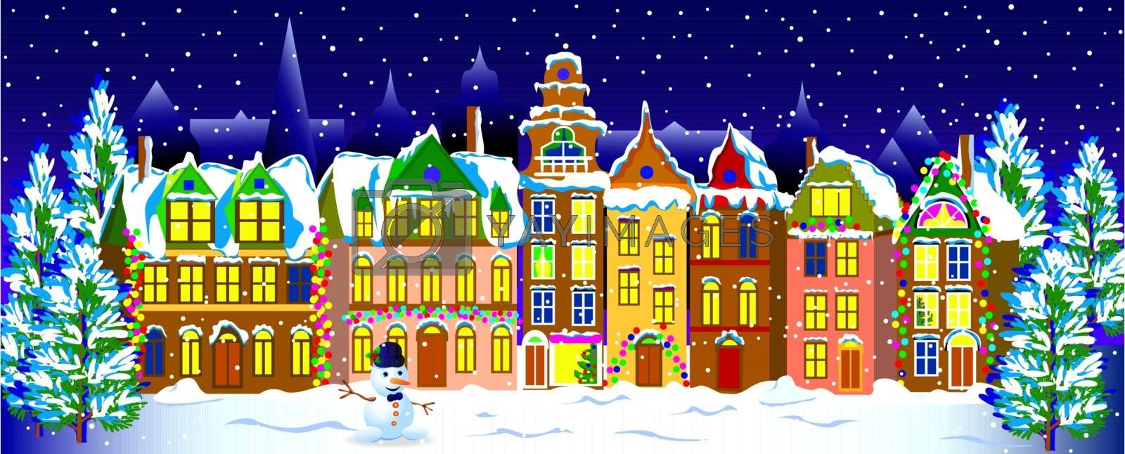Winter night in the old town. by liolle