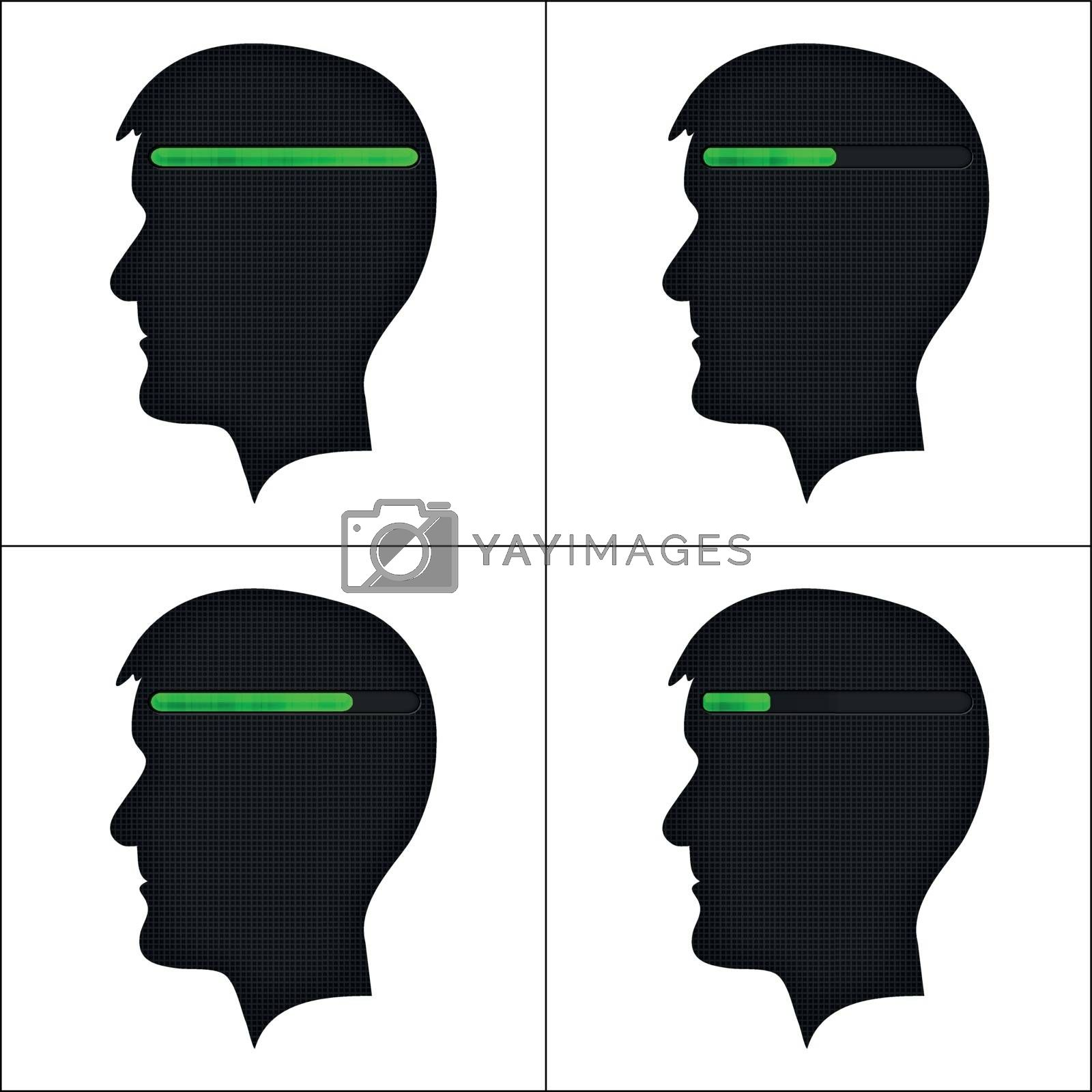 Set of head silhouettes with green loading symbol on white background. Brain using.