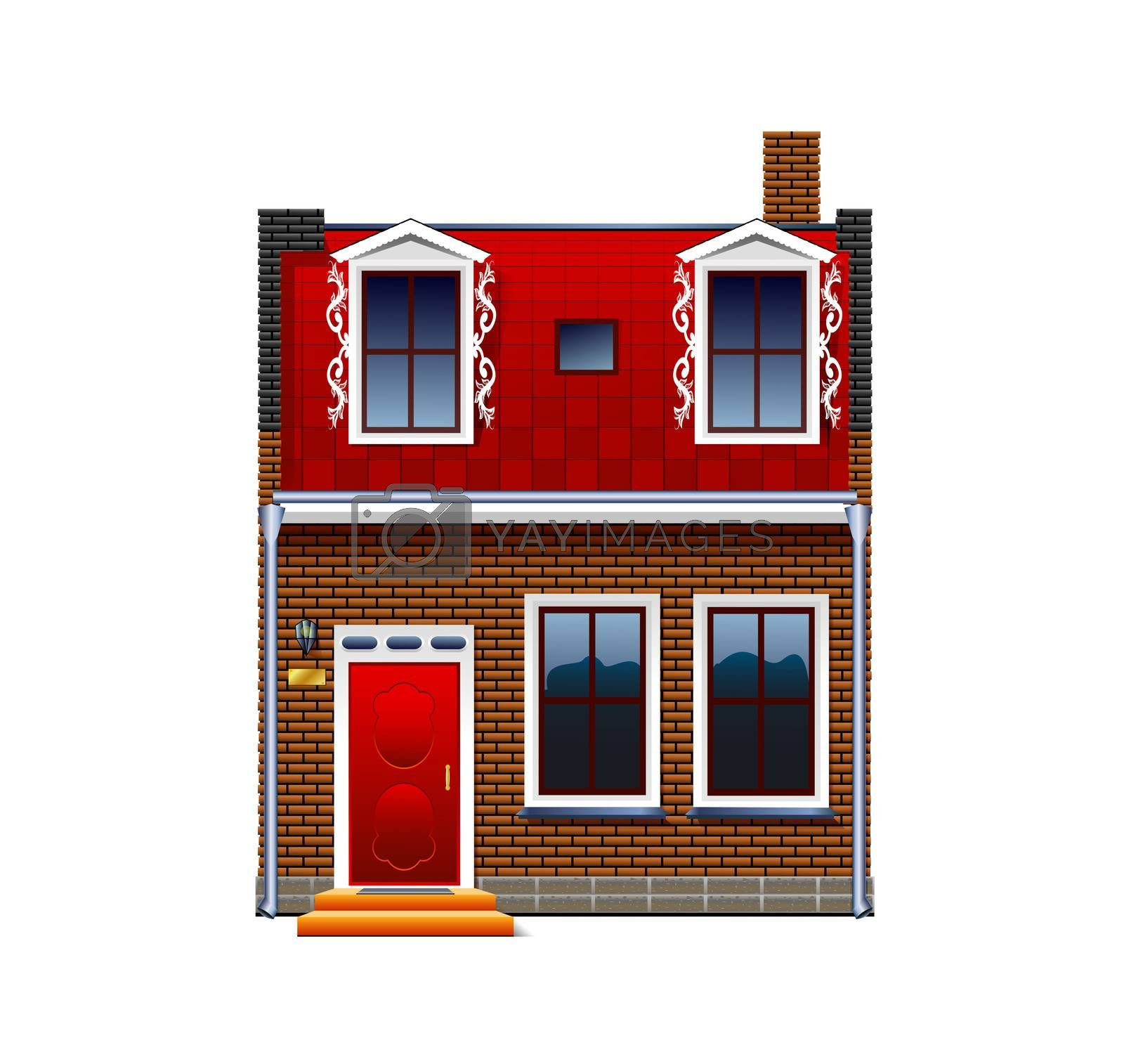 A small house on a white background.