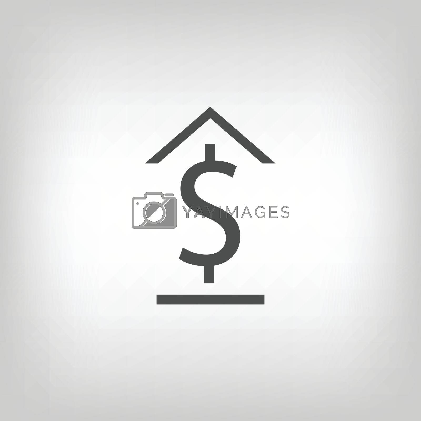 Simple bank icon. Dollar sign with roof and floor