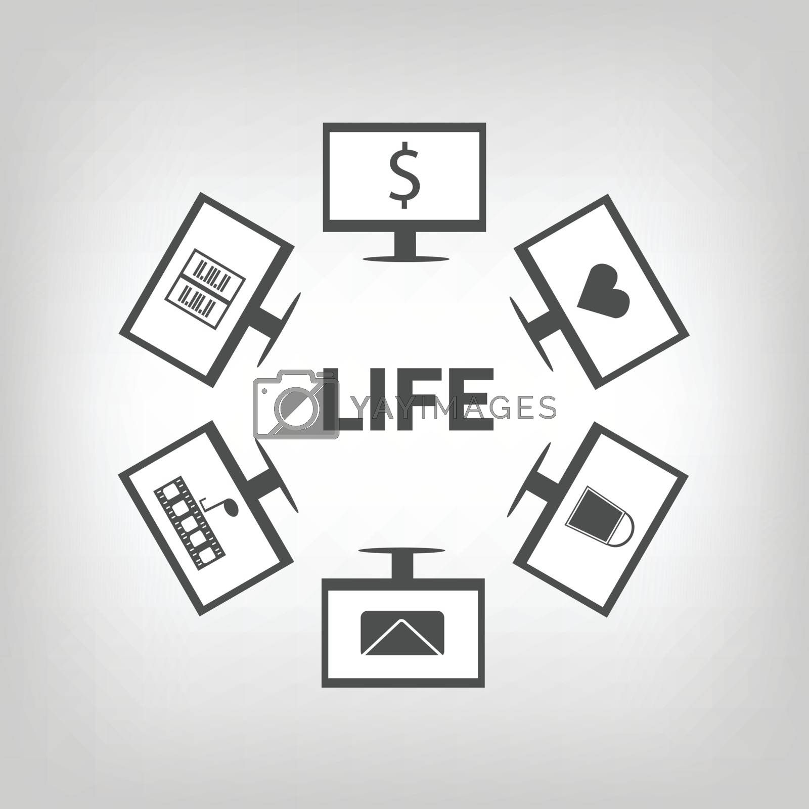 Life word with computers around. Everyday life with computer and internet