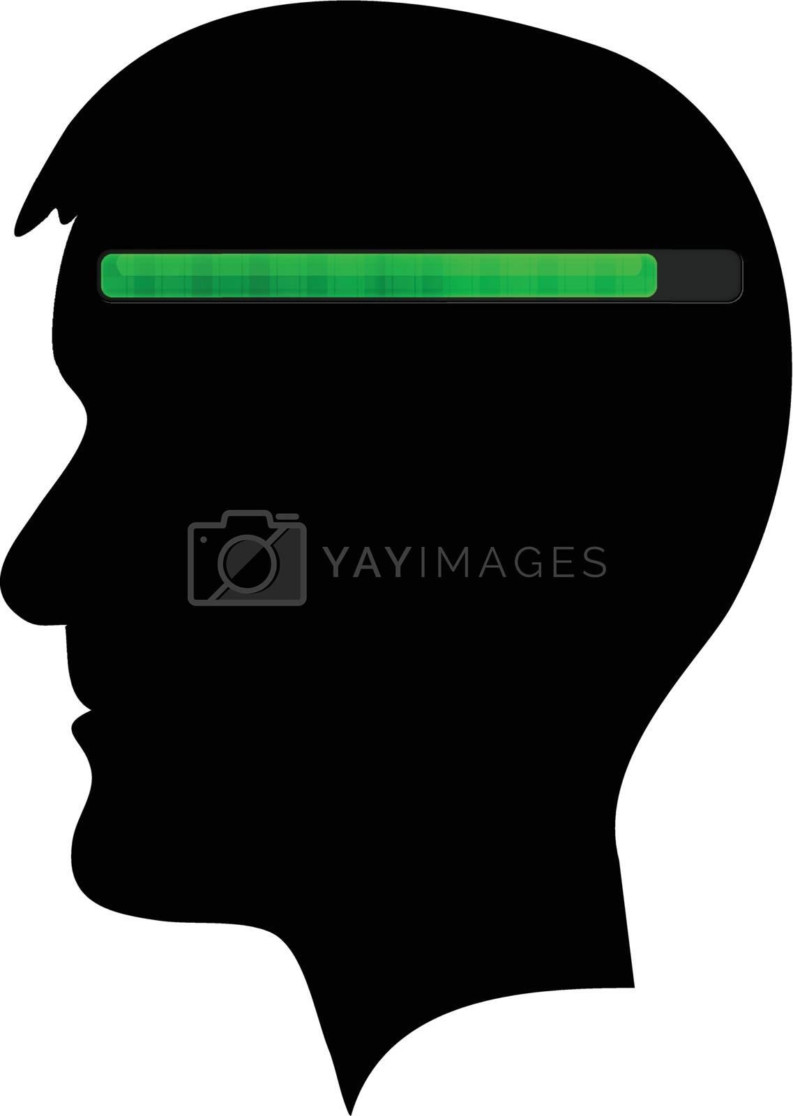 Human head black silhouette with green progress bar