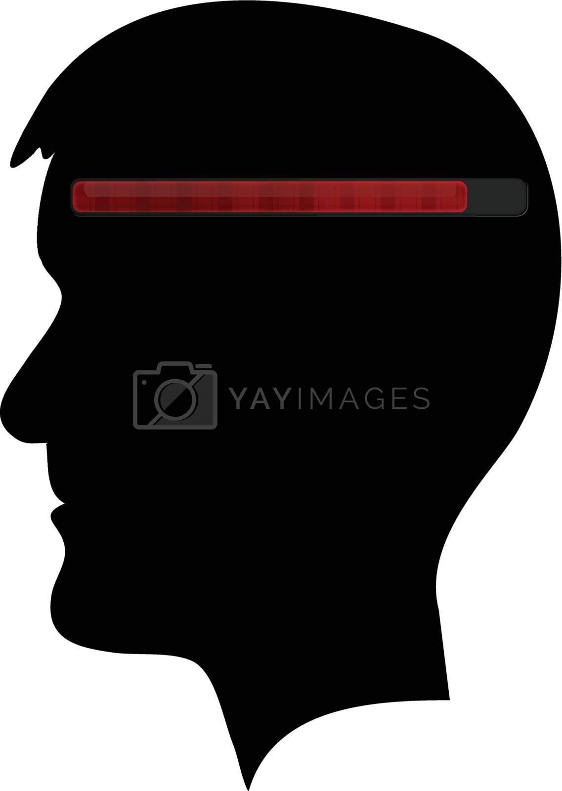 Human head black silhouette with red progress bar