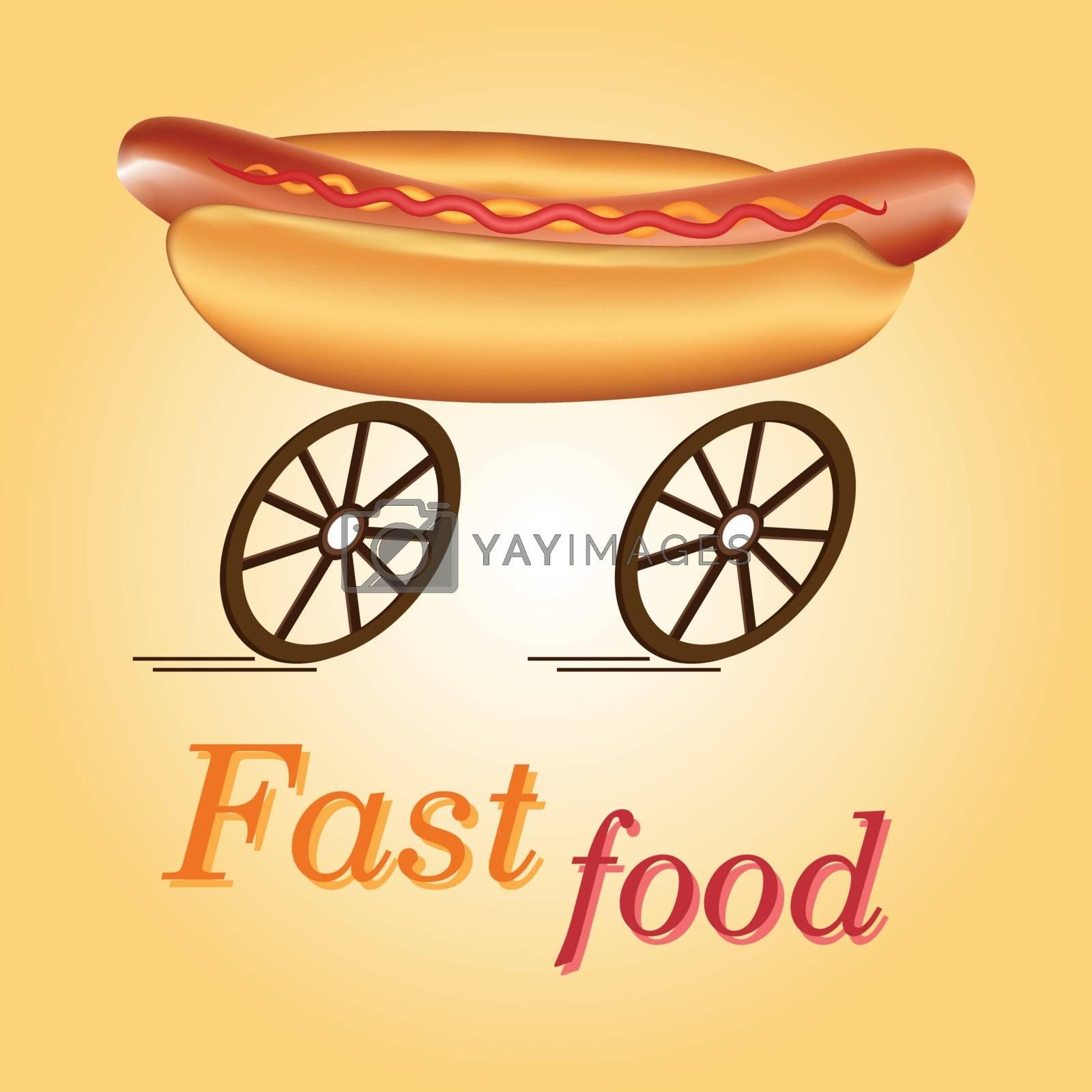 Hot dog on wheels as idea of fast food