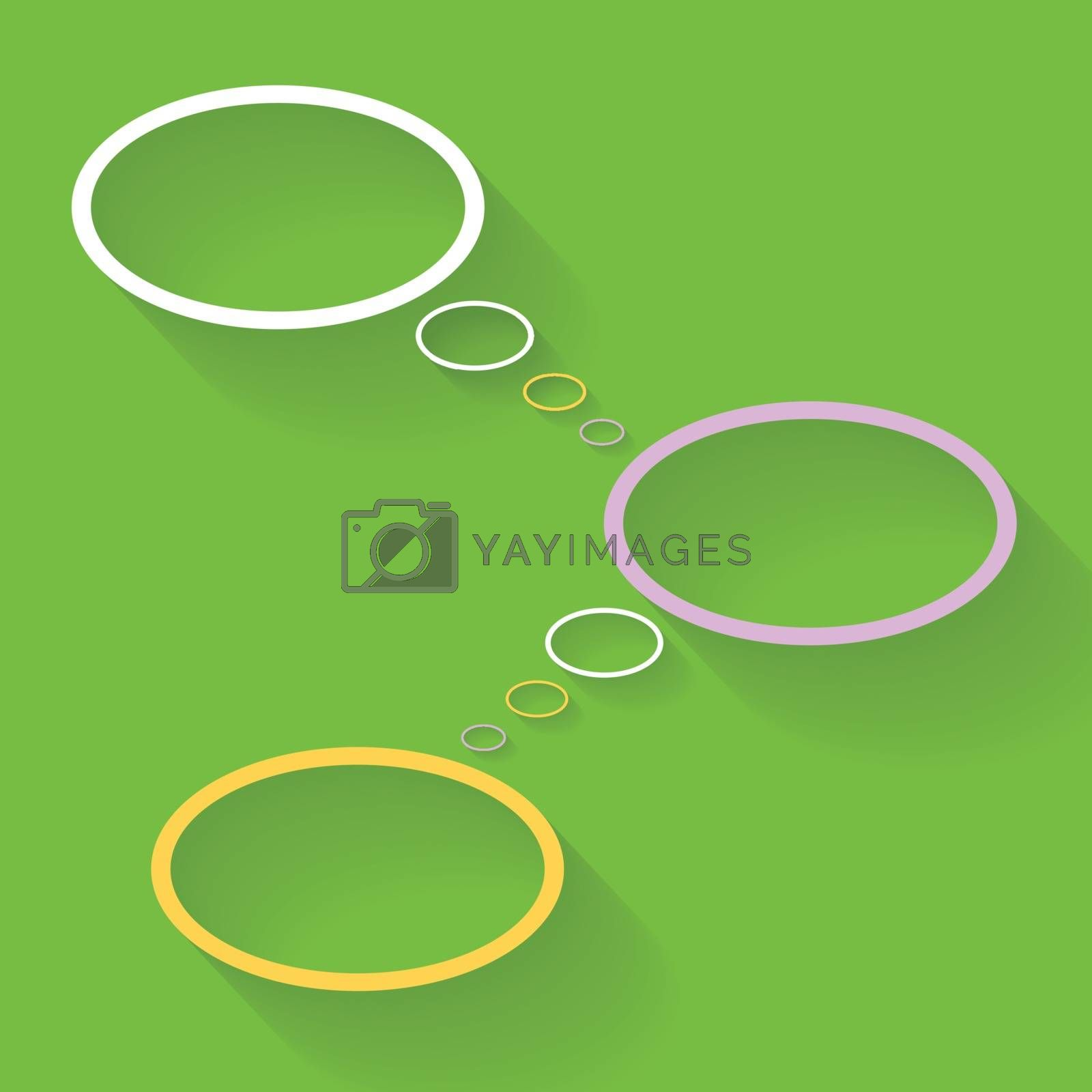 Three blank bubbles connecting on green background