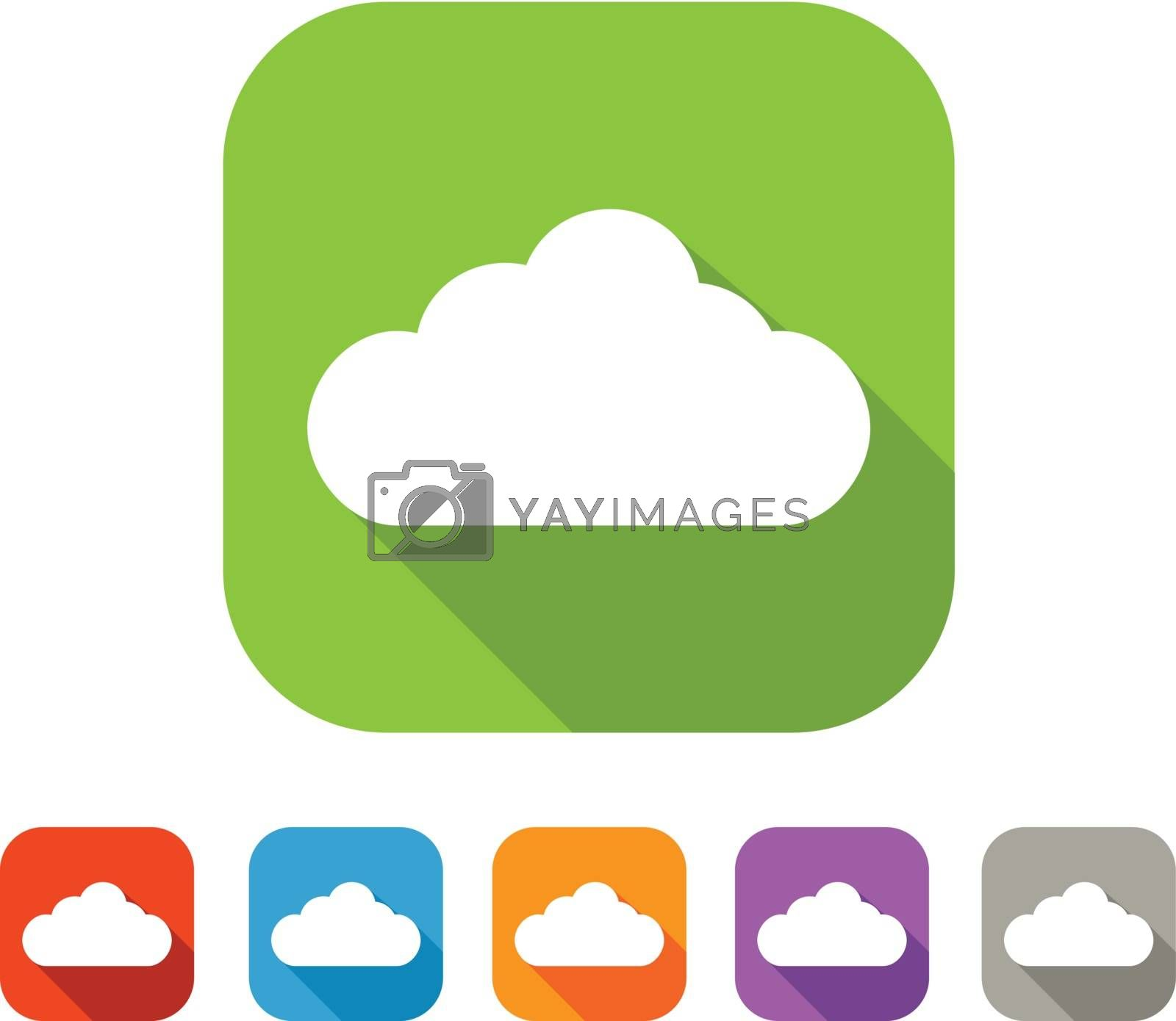 White and green square flat cloud icon with color set in red, blue, orange, purple and grey colors