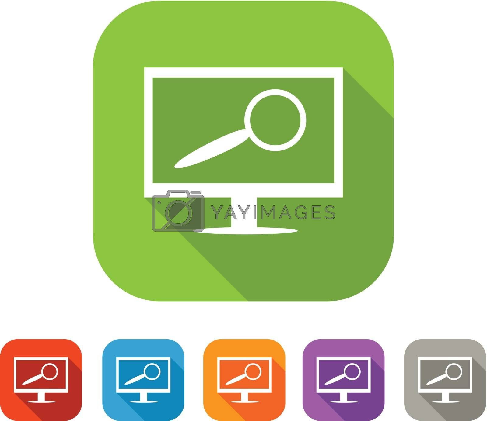 White and green square flat icon with computer and magnifying glass.  Search service sign with color set in red and blue, orange, purple and grey colors