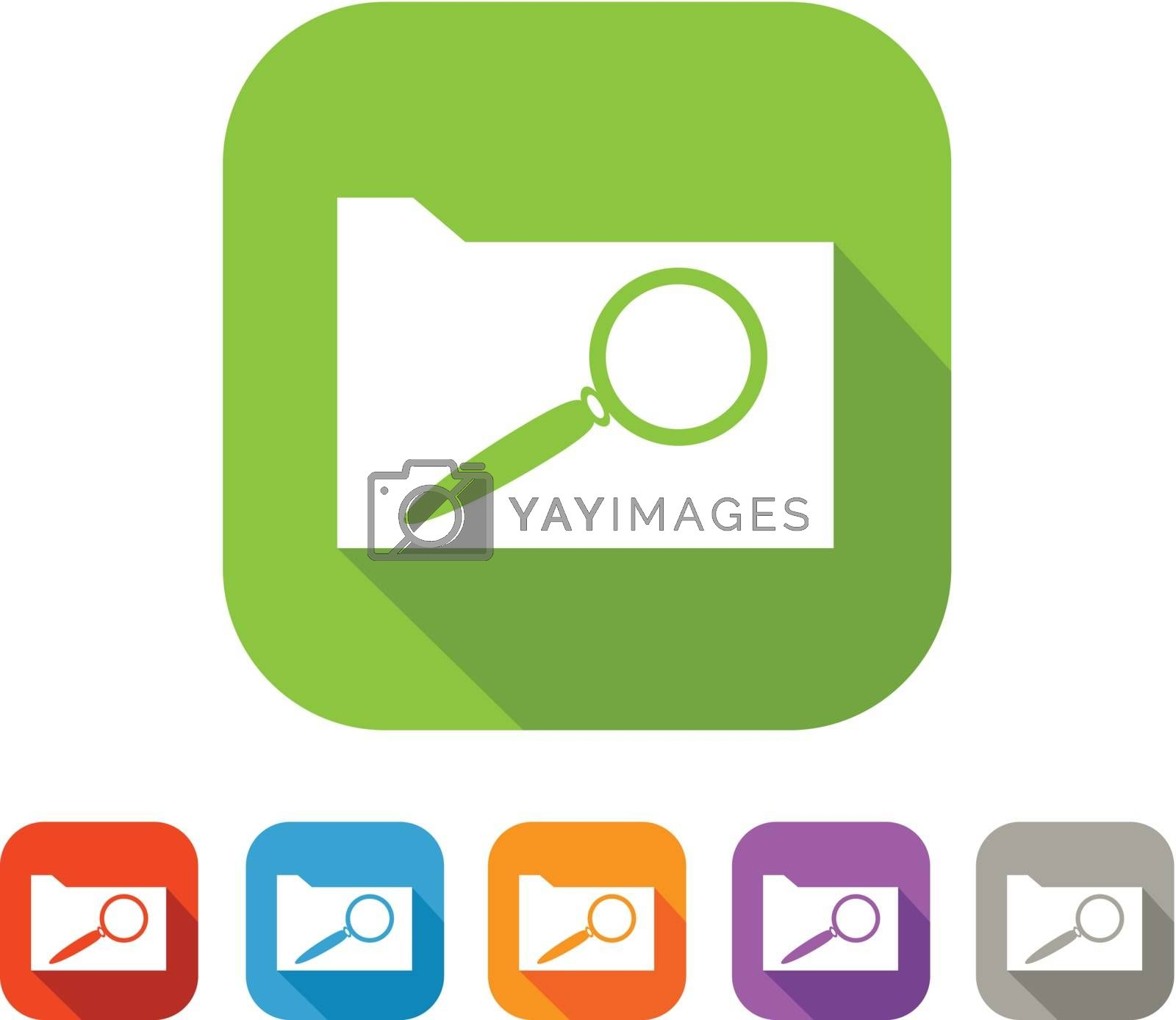 White and green square flat icon with file and magnifying glass. Document search sign with color set in red and blue, orange, purple and grey colors