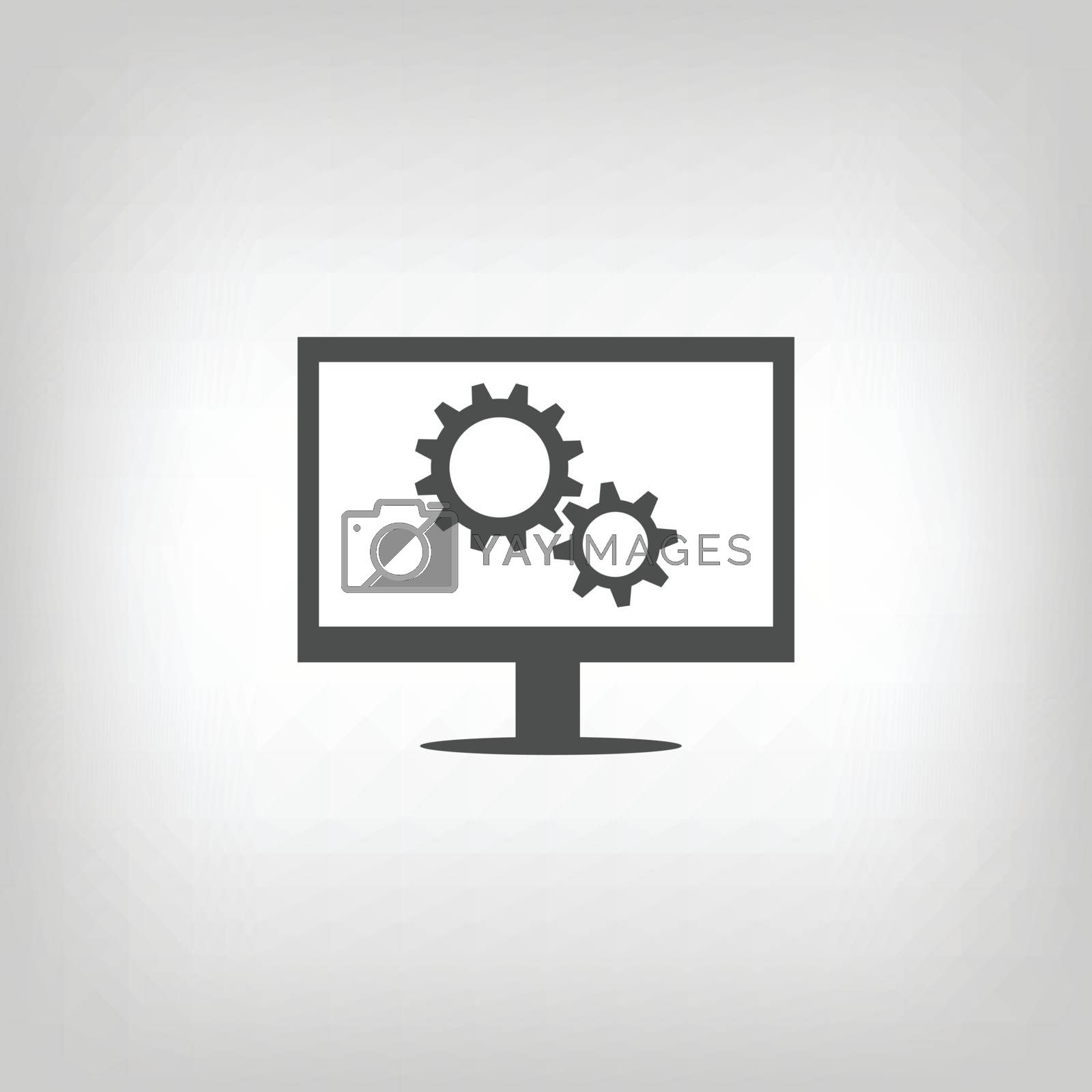 Simple grey sign of computer with gear wheels. Settings icon