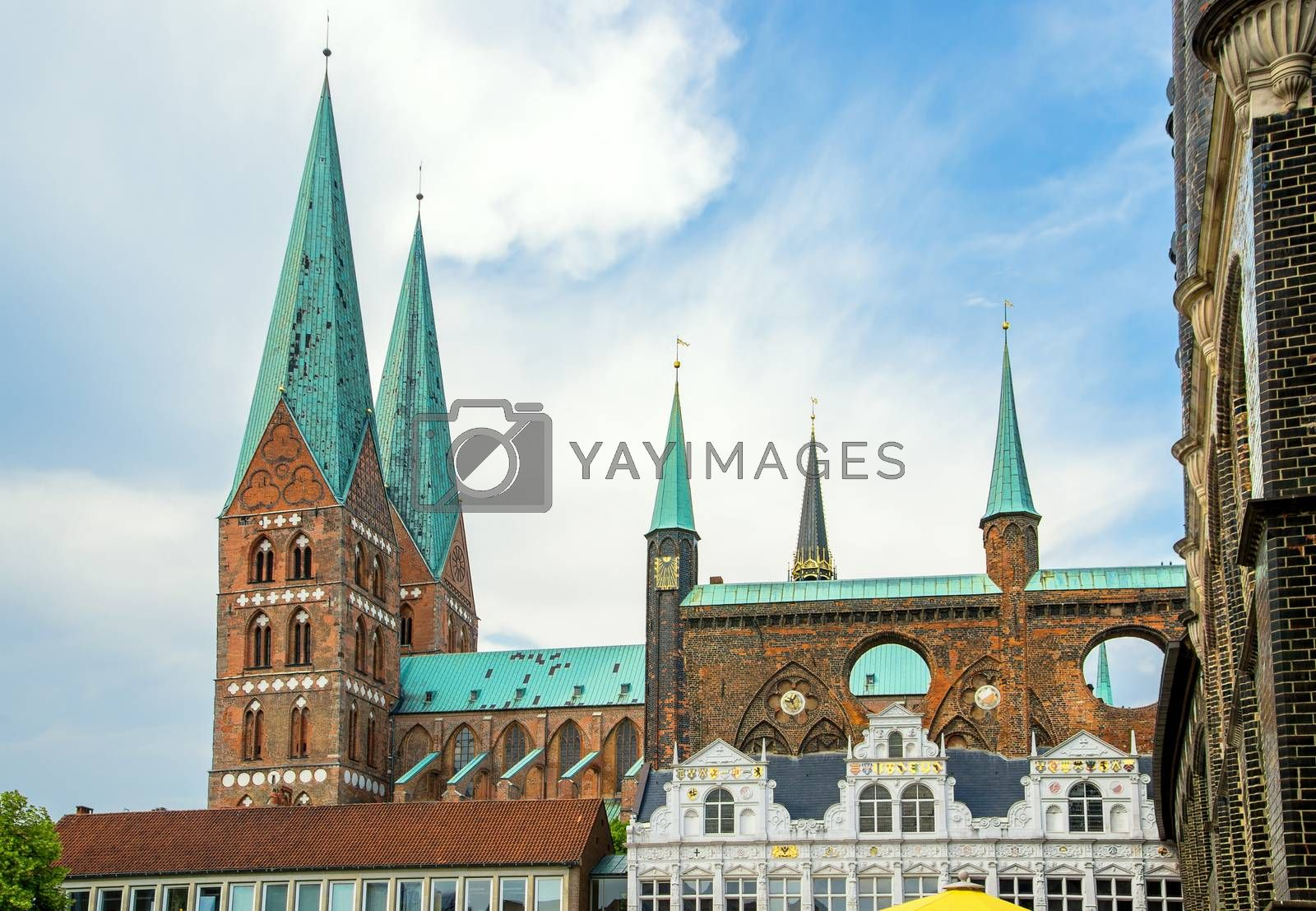 St. Mary Church and Town Hall. Hanseatic town of Lubeck, Schleswig-Holstein, Germany