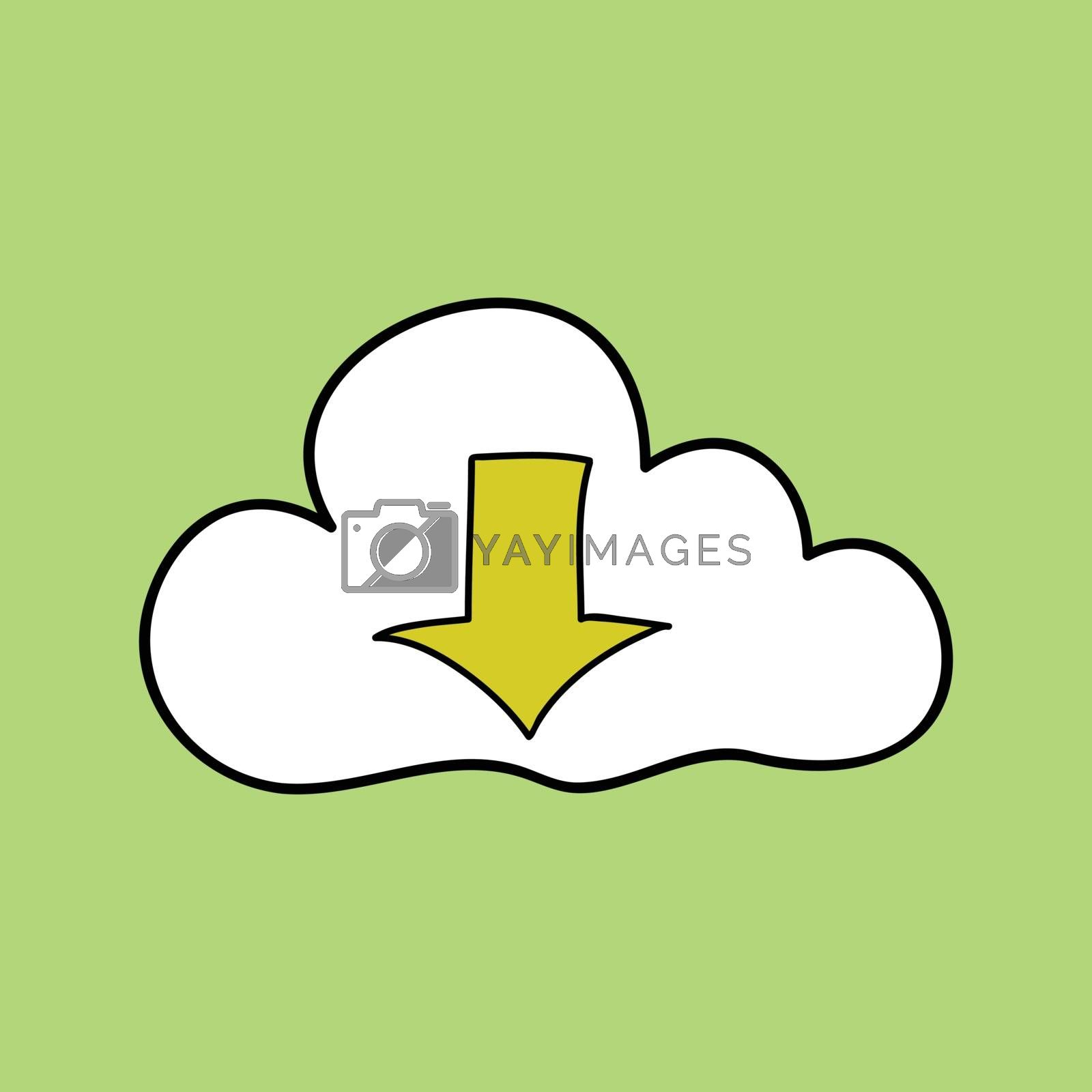 Doodle style cloud computing with down arrow