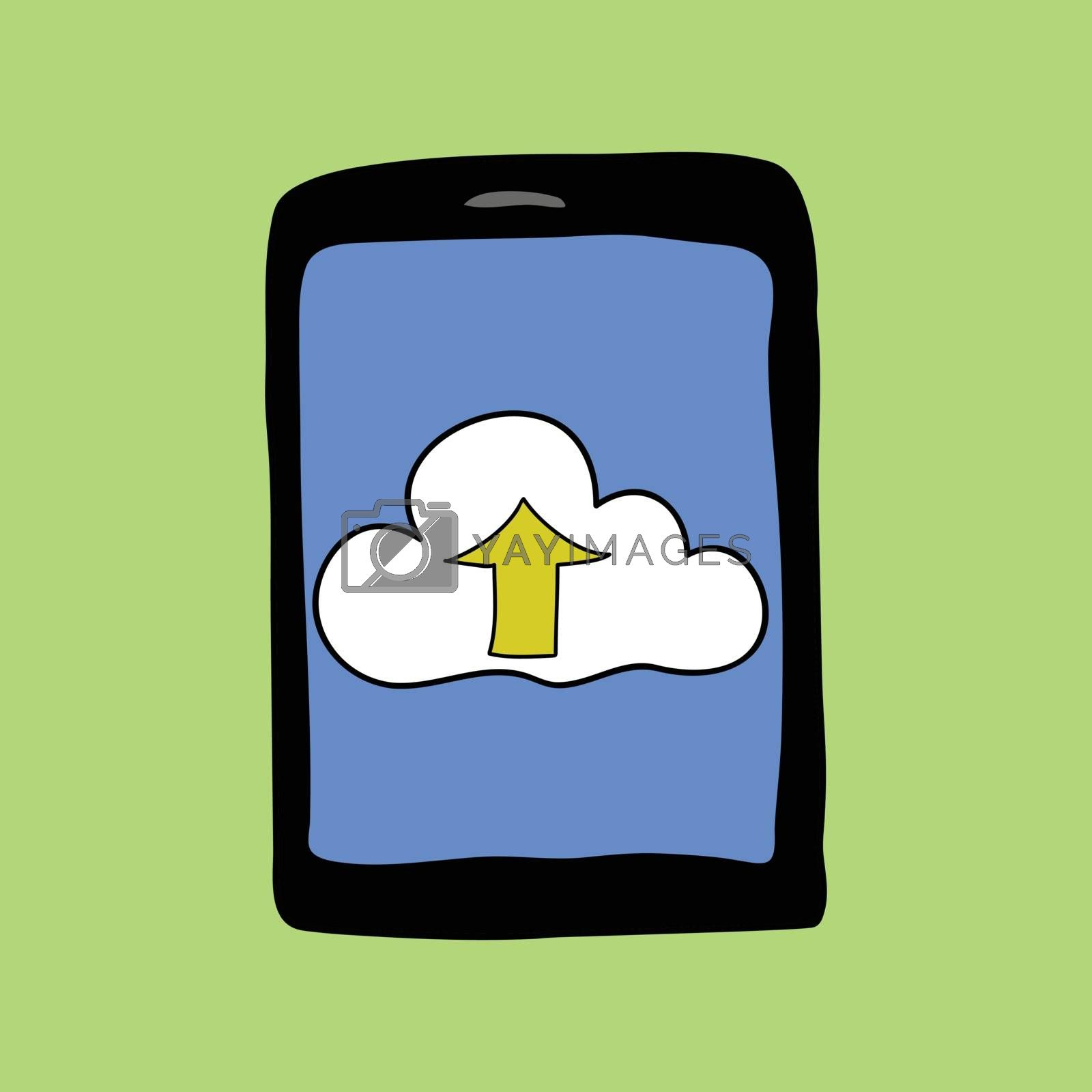Doodle style pad with cloud. Cloud computing