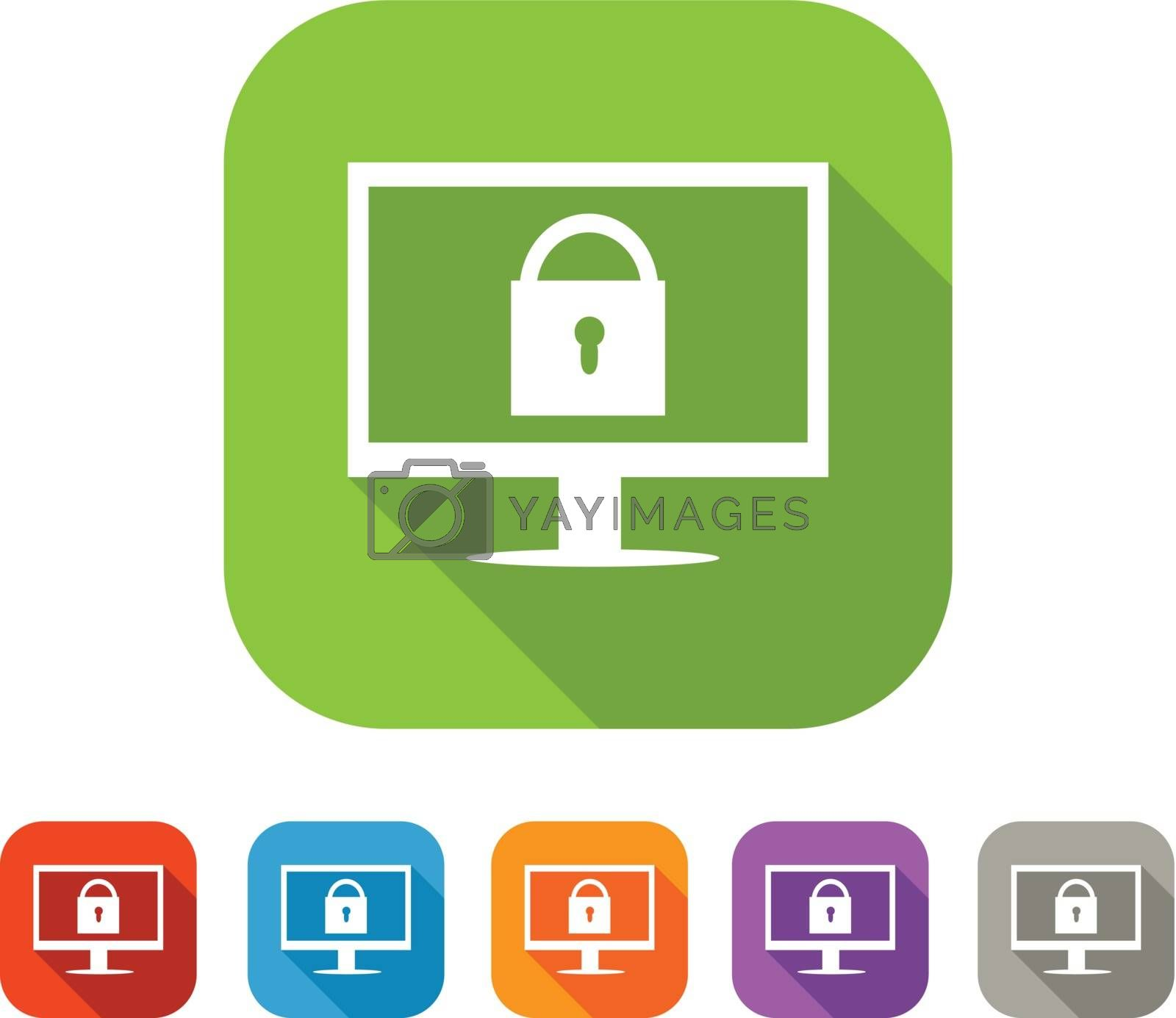 White and green square flat computer and lock icon with color set in red and blue, orange, purple and grey colors. Web safety sign