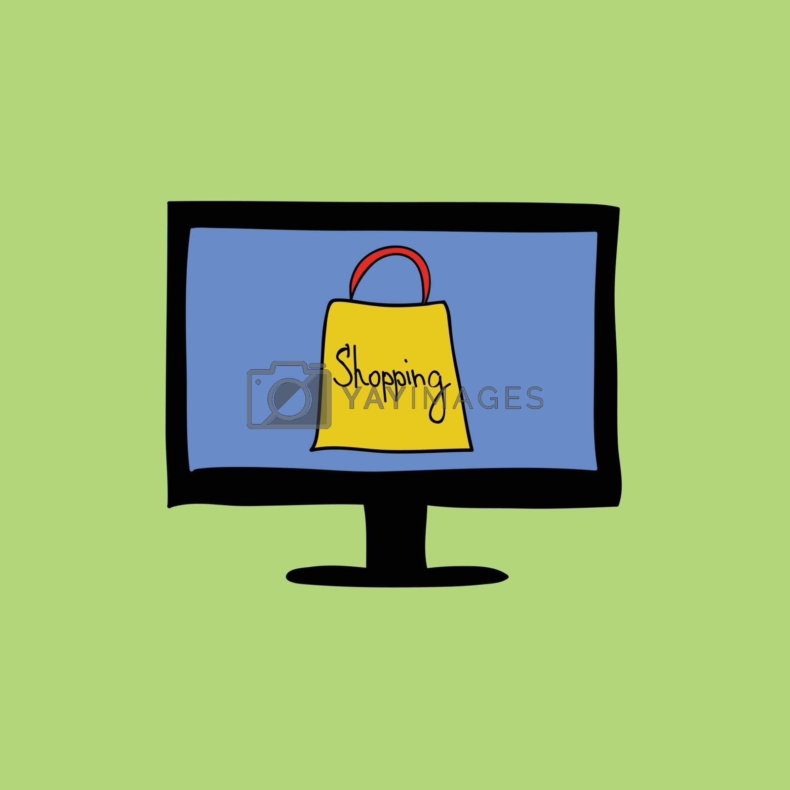 Doodle color online shopping sign with computer and bag