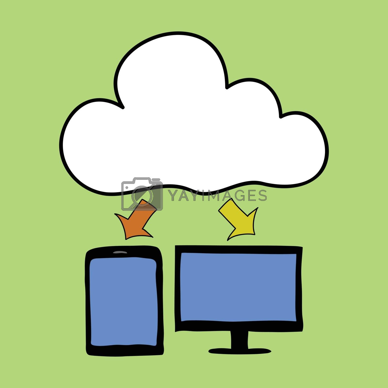 Doodle style computer and tablet with cloud as symbol of cloud computing