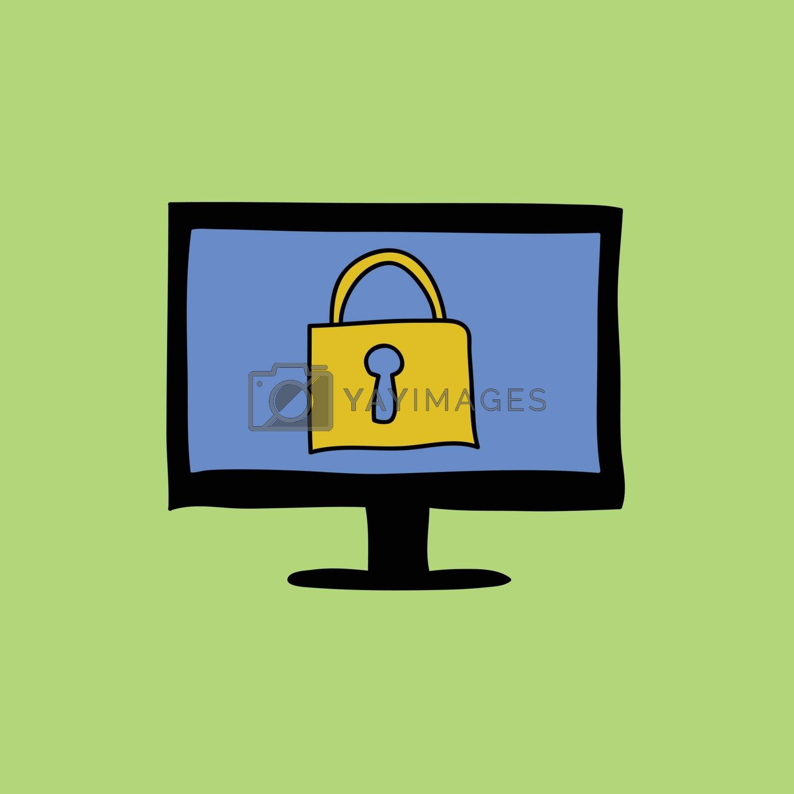 Doodle style sign of computer with padlock. Safety and security icon