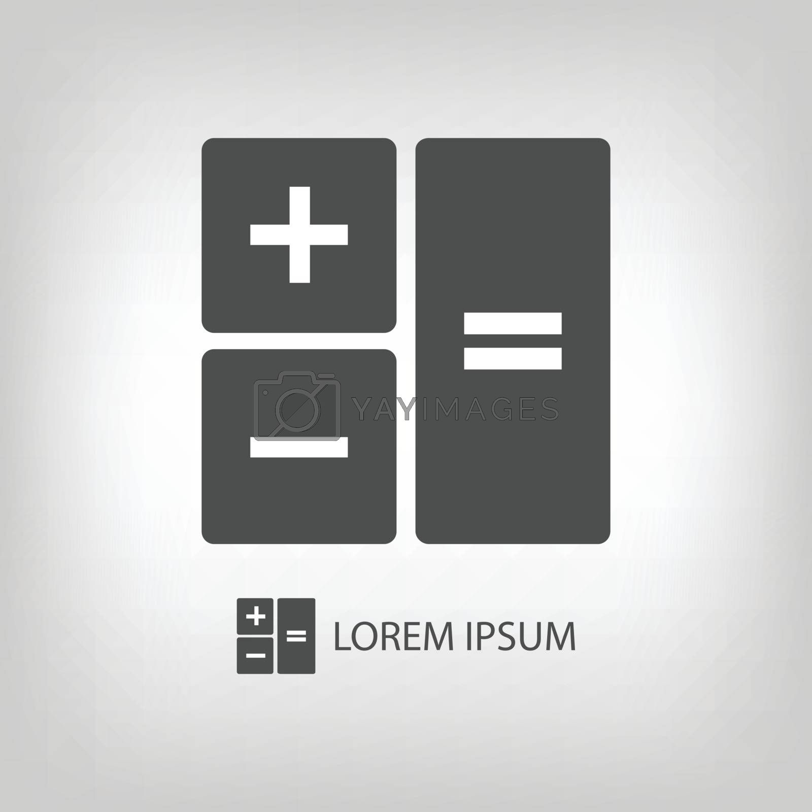 Calculator as logo with copyspace in grey colors