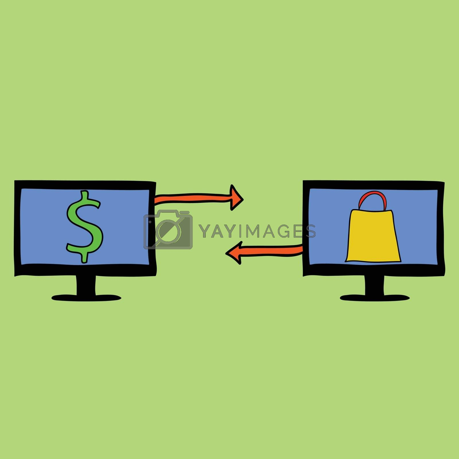Doodle style two computers with money and shopping bag. Online shopping concept