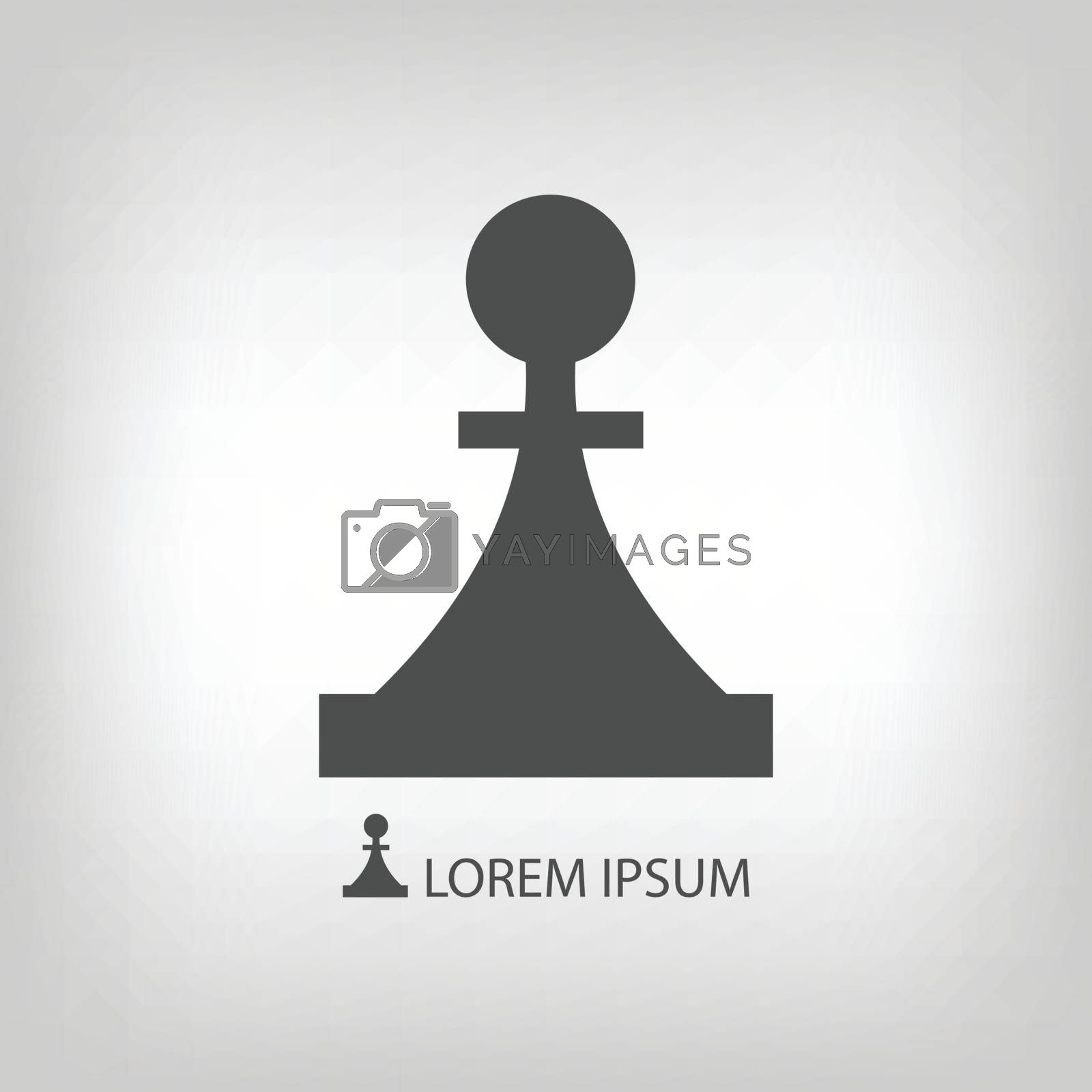 Piece as logo  in grey colors. Strategy and logic