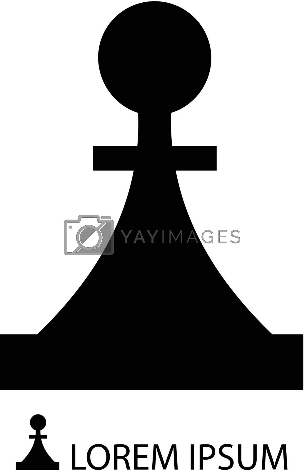 Black piece as logo on white background. Strategy and logic