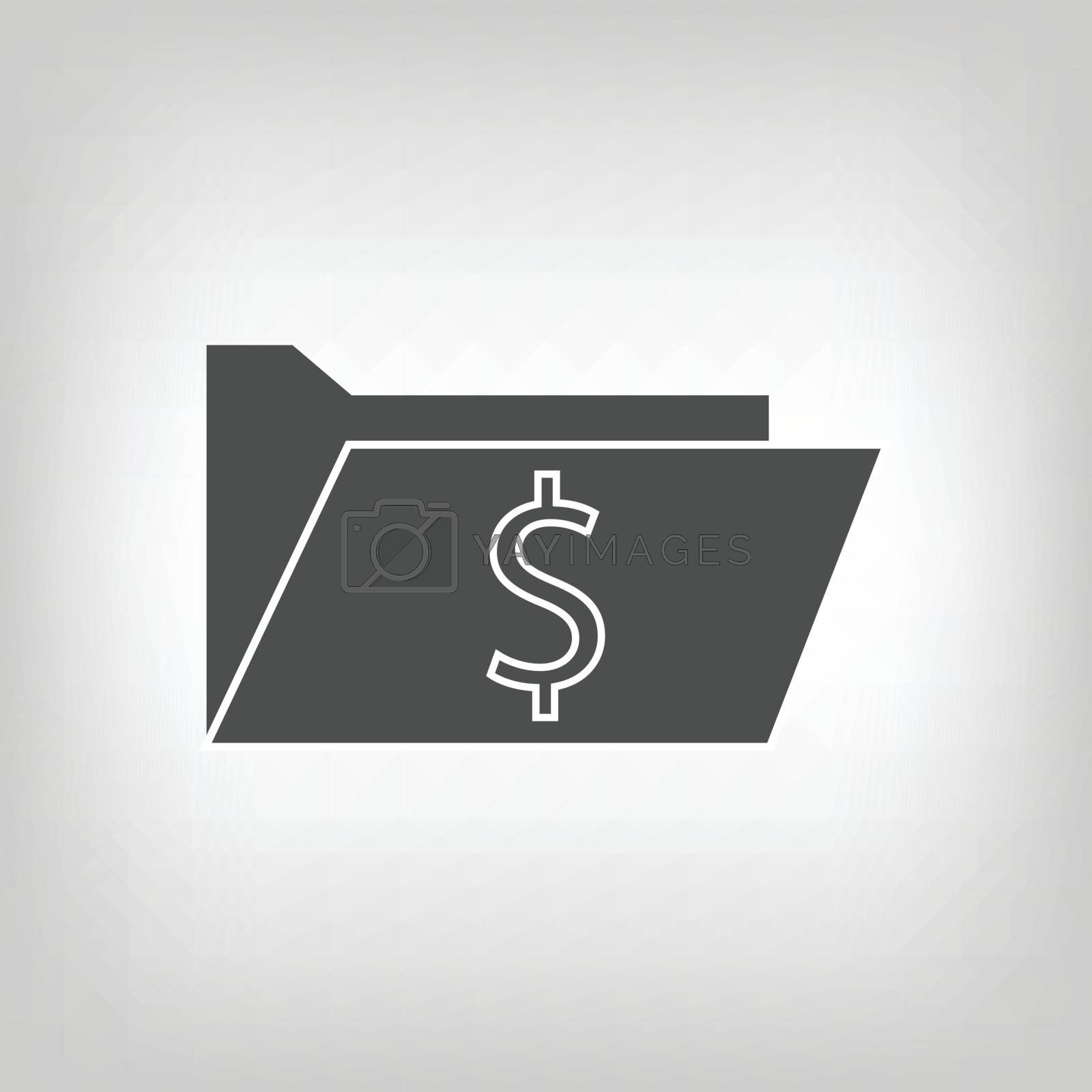 Grey icon of computer folder with dollar sign. Information storage