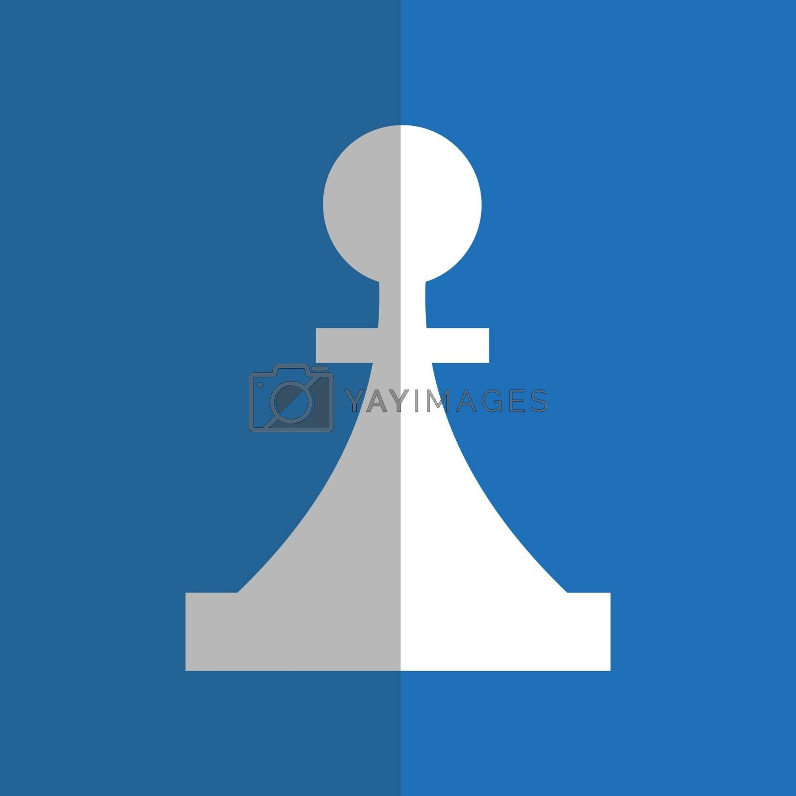 White piece in flat style on blue background