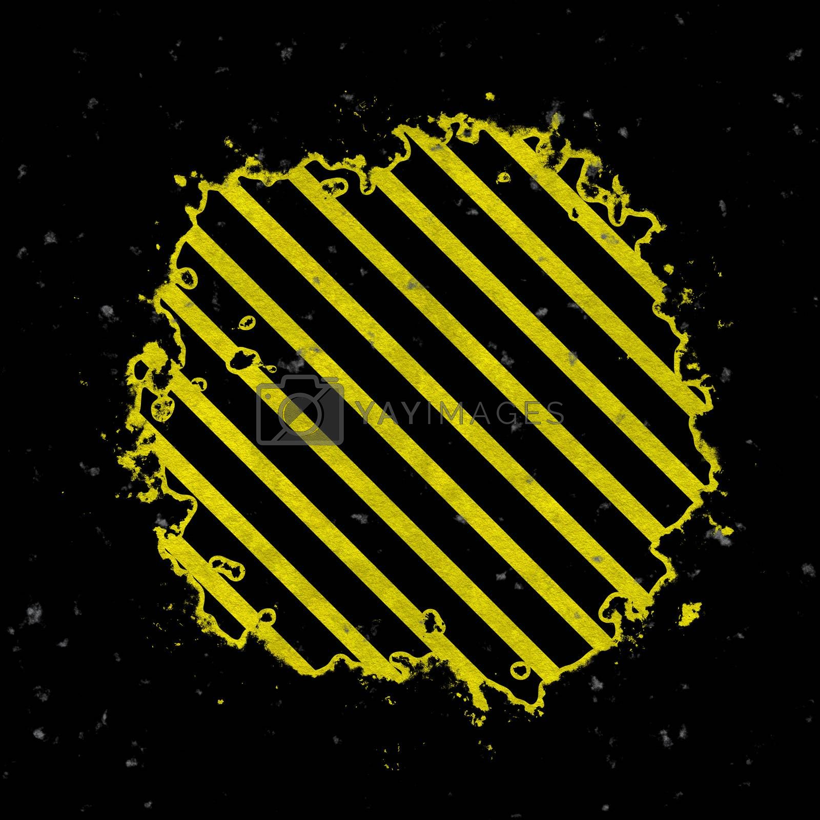 A hazard stripes background with grungy splatter textures isolated over a black background.