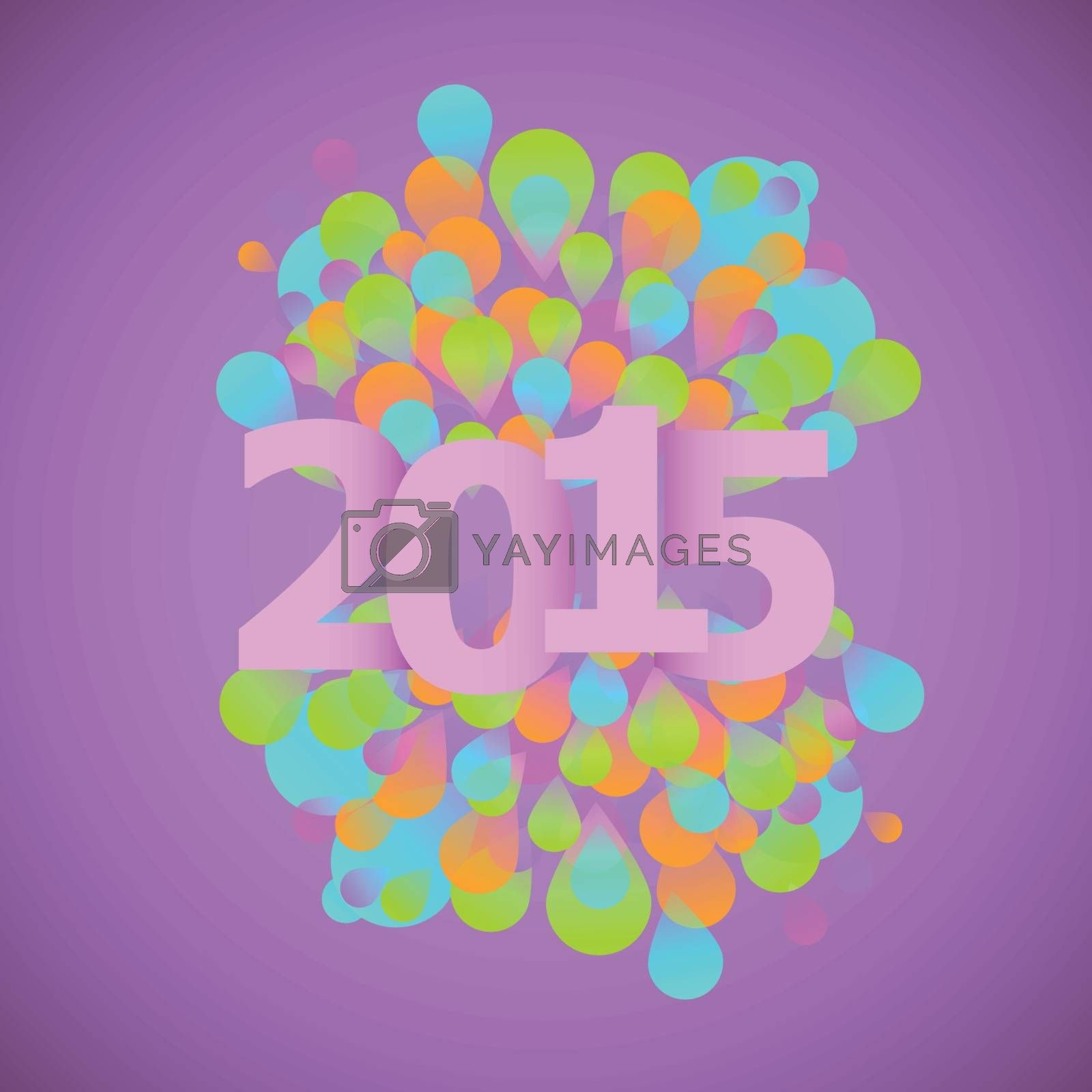 Celebration 2015 concept on violet background, stock vector