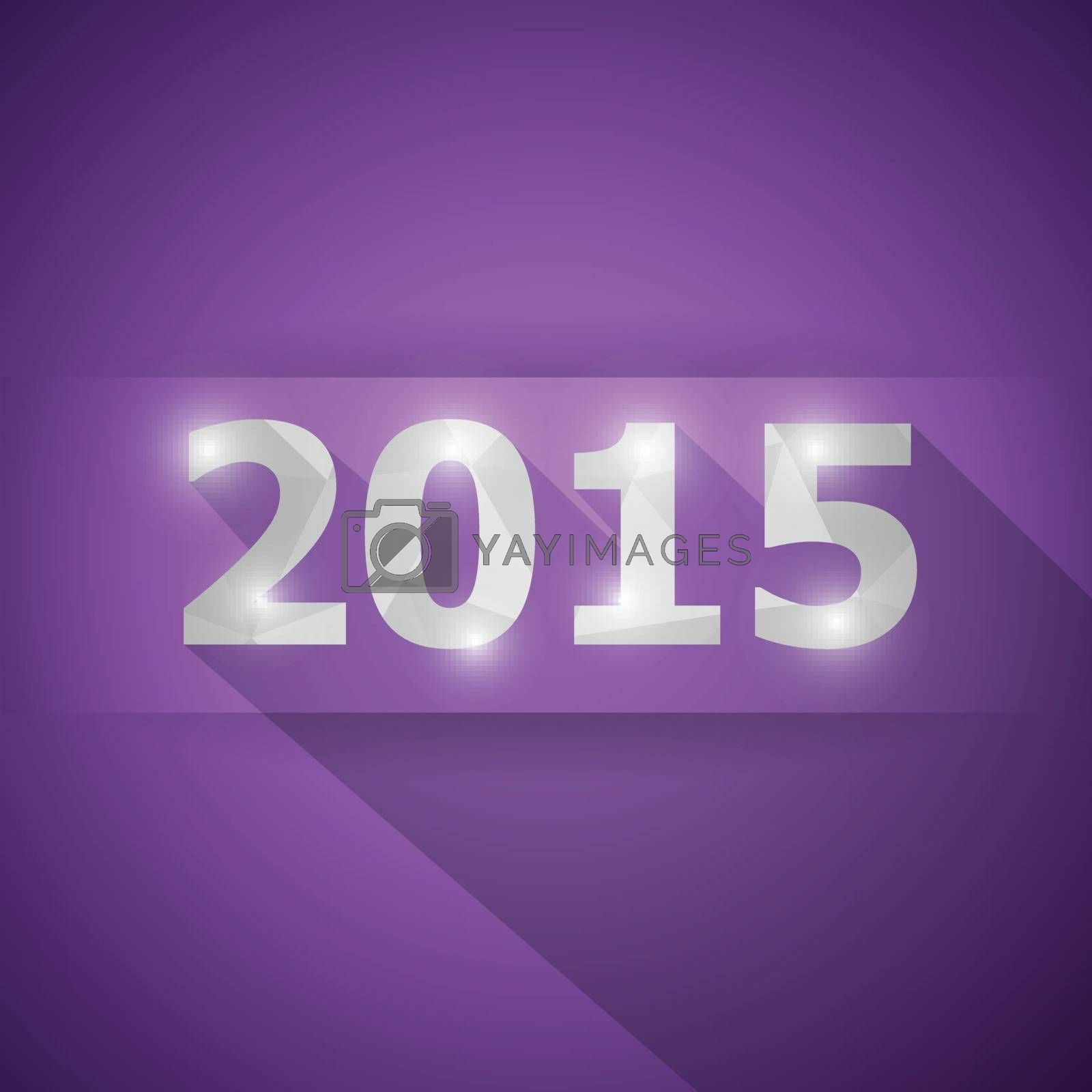 2015 with abstract triangle violet background, stock vector