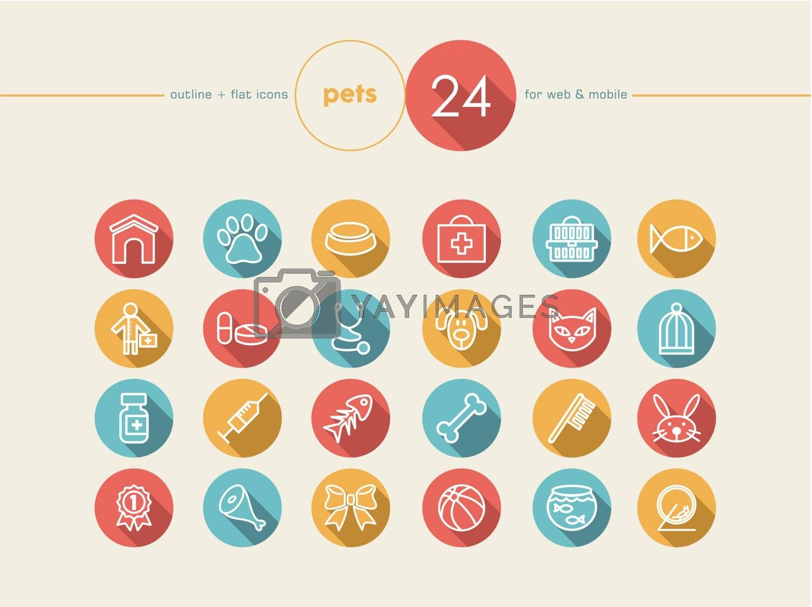 Pet and Vet colorful flat icons set for web and mobile app. Health care for pets. EPS10 vector file organized in layers for easy editing.