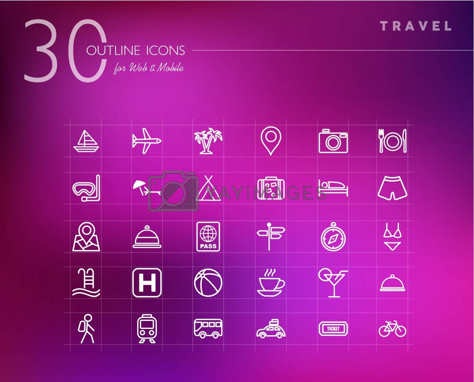 Travel outline icons set for web and mobile app. EPS10 vector file organized in layers for easy editing.