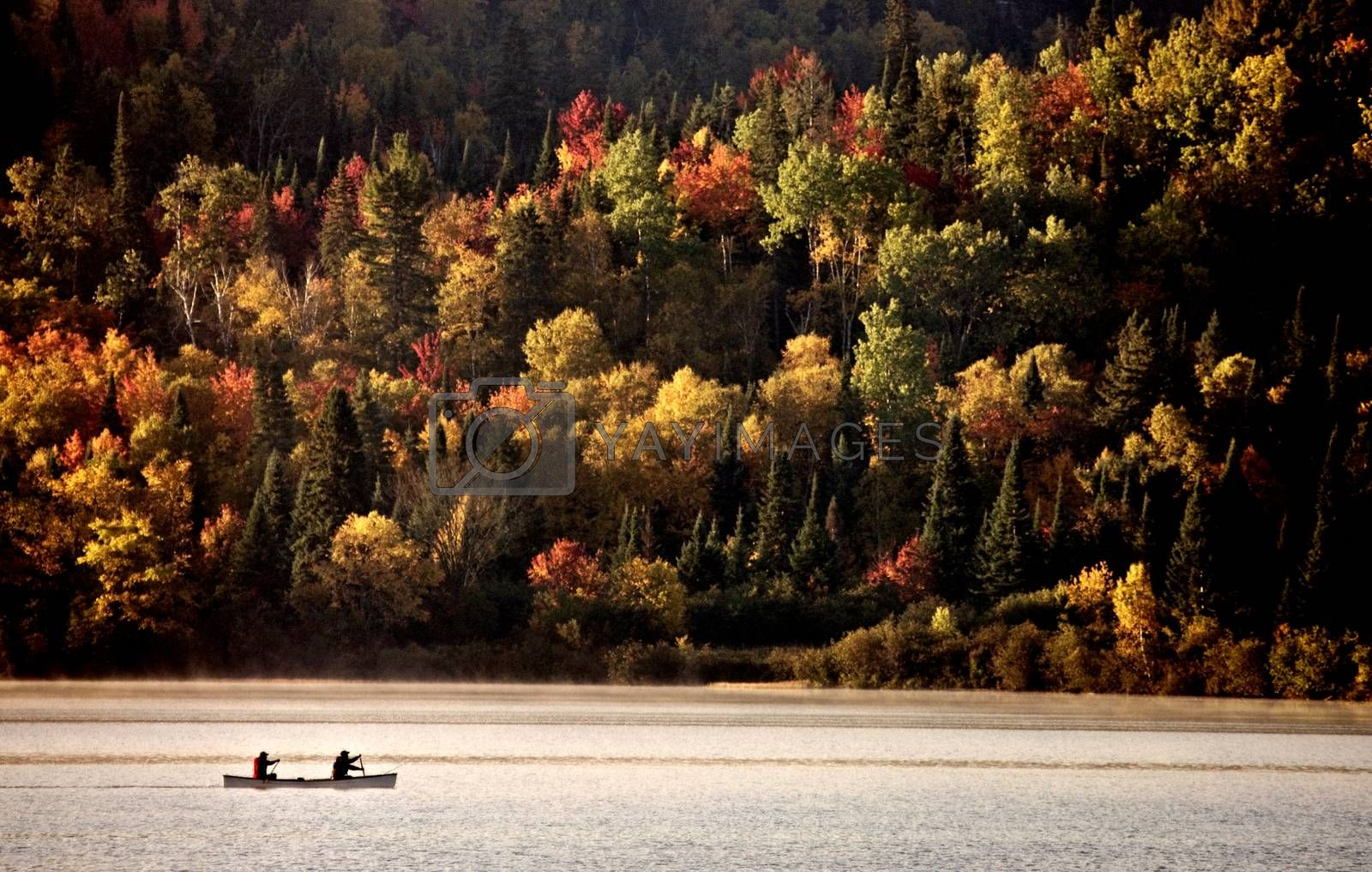 Lake in Autumn Algonquin Muskoka Ontario colors canoe