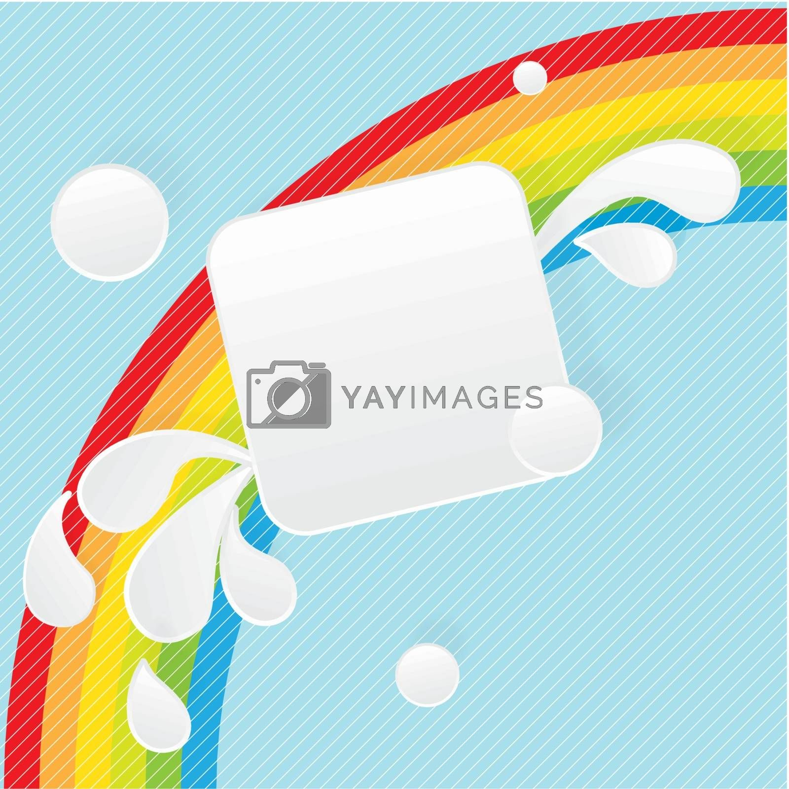 Paper square banner with drop shadows on blue background with rainbow. Vector illustration