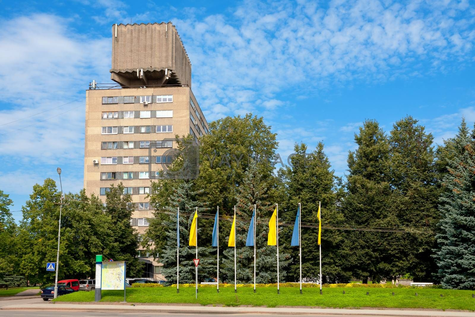 Water tower combined with panel apartment house. Highest building in the city of Narva. Estonia, Europe