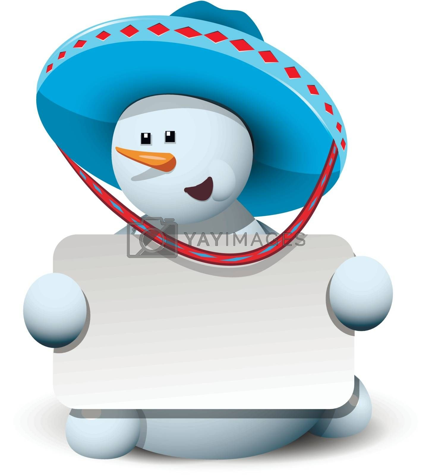 illustration merry snowman with white background in a sombrero