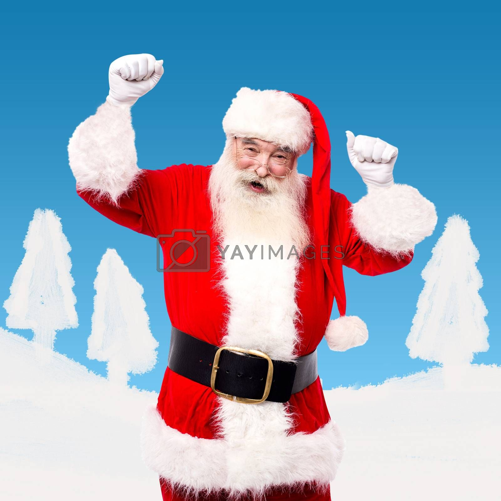 Santa dancing and enjoying his time admist the snow