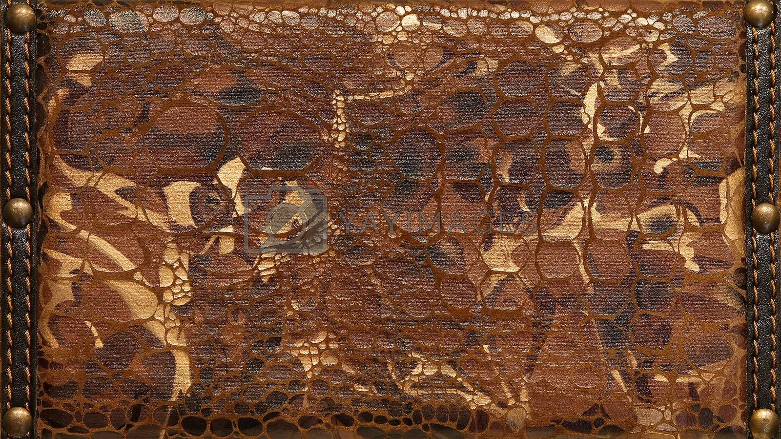 Detailed brown leather texture with decorative ornaments