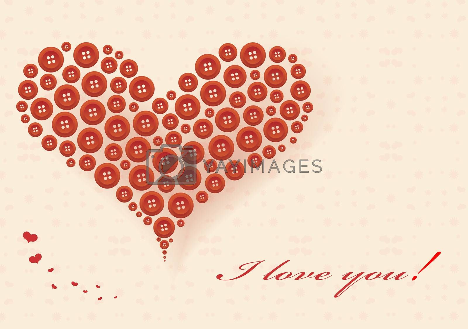 Stylized heart made of red buttons. Greeting card for Valentine's Day.