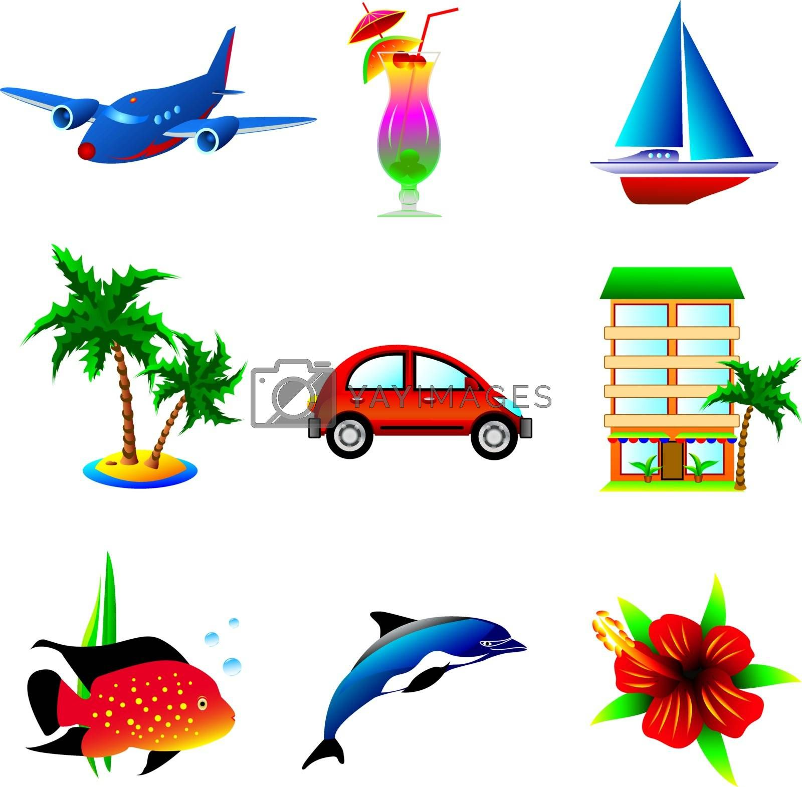 Set of icons on a theme of travel and recreation.