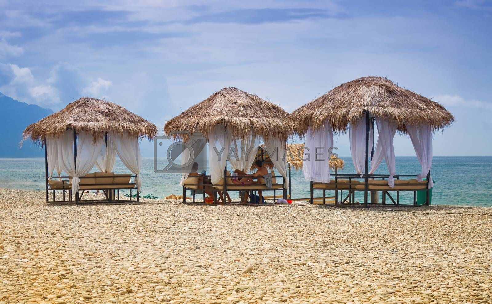 beach gazebos with thatched roofs