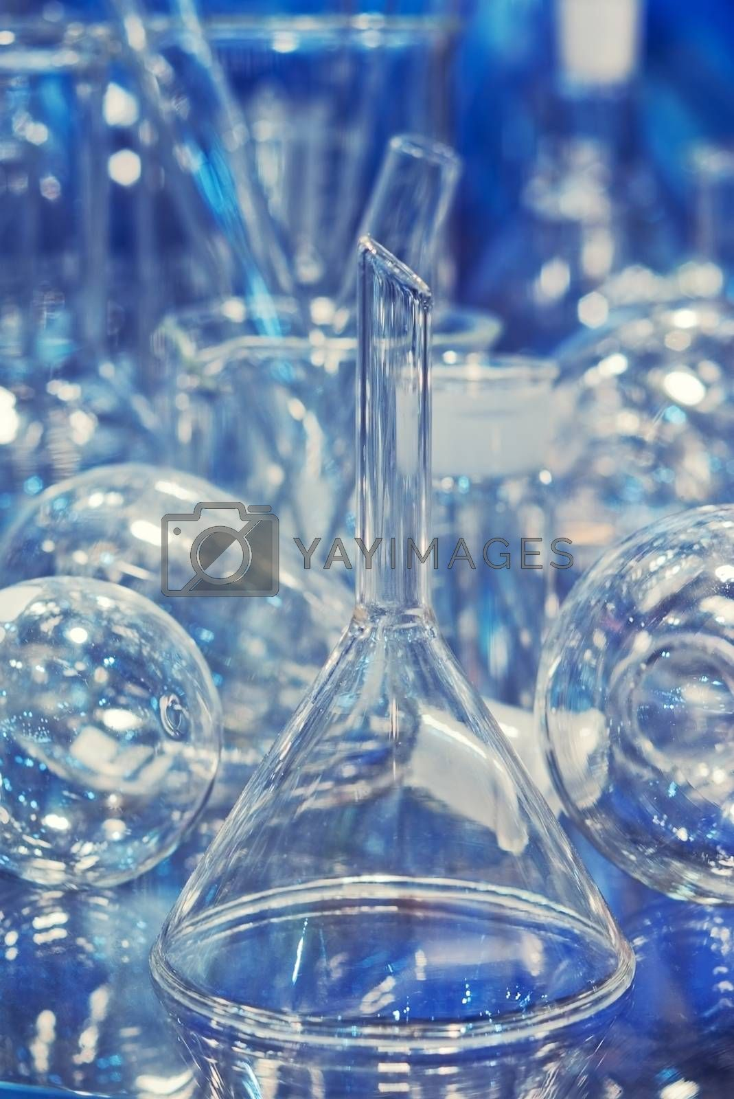 glass flasks andTest-tubes blue colors. Laboratory glassware