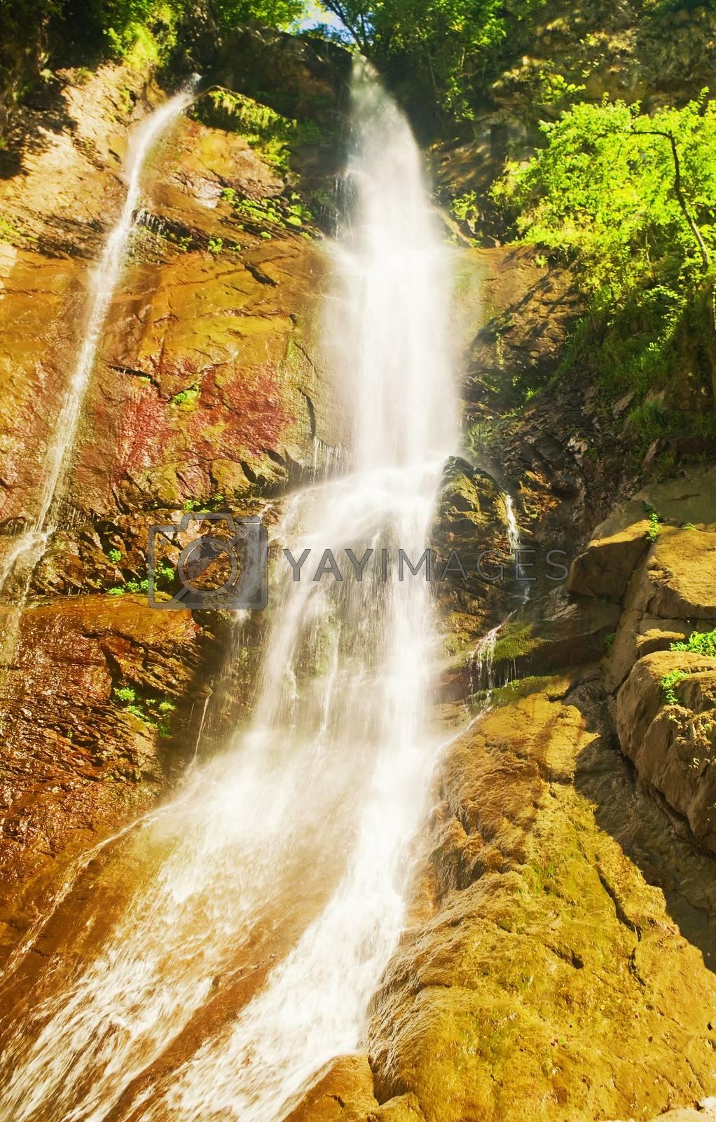 Waterfall Mahuntseti in the mountains of Georgia