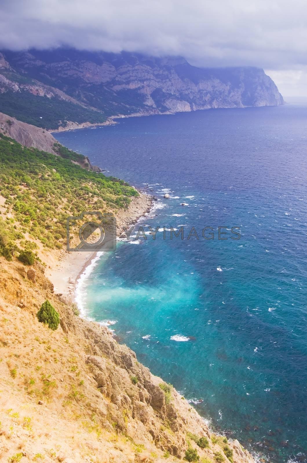 Amazing landscape of the Black Sea and a mountain in Crimea, Ukraine