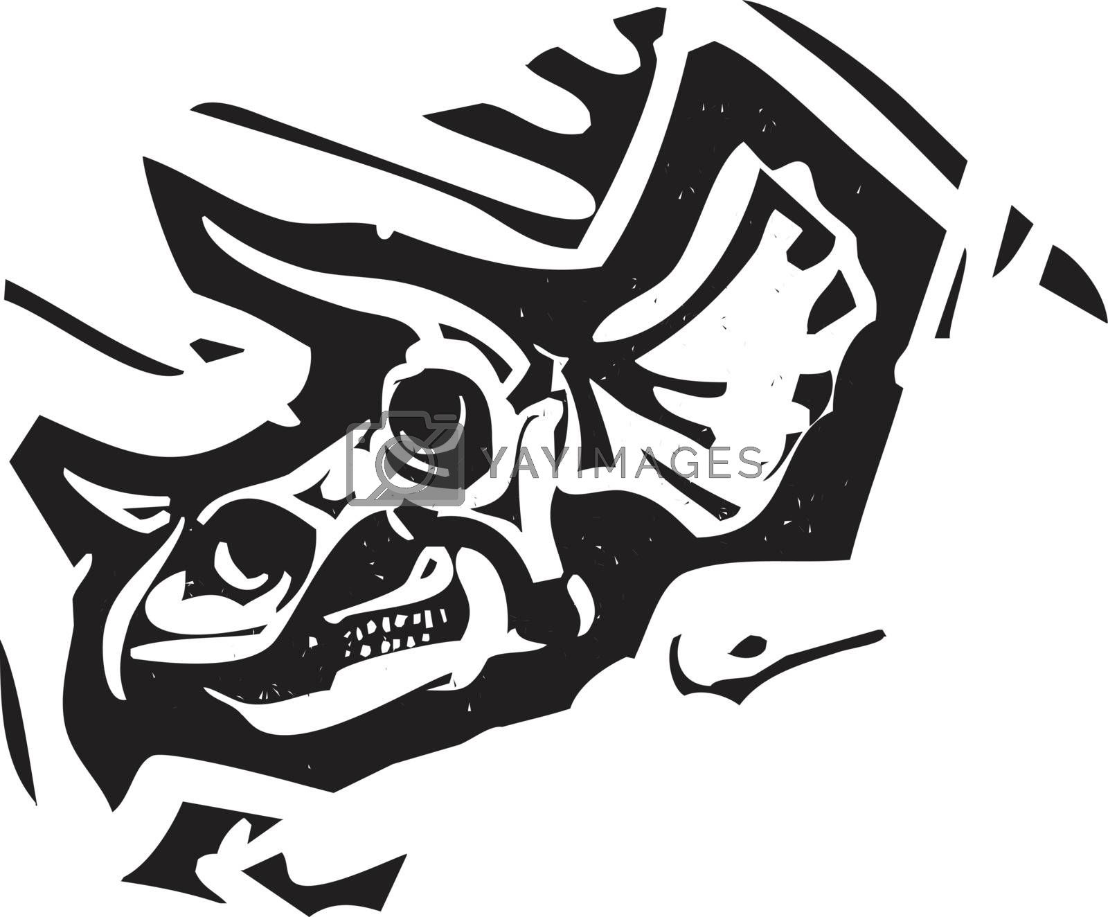 Woodcut style image of a fossil of a Triceratops dinosaur skull