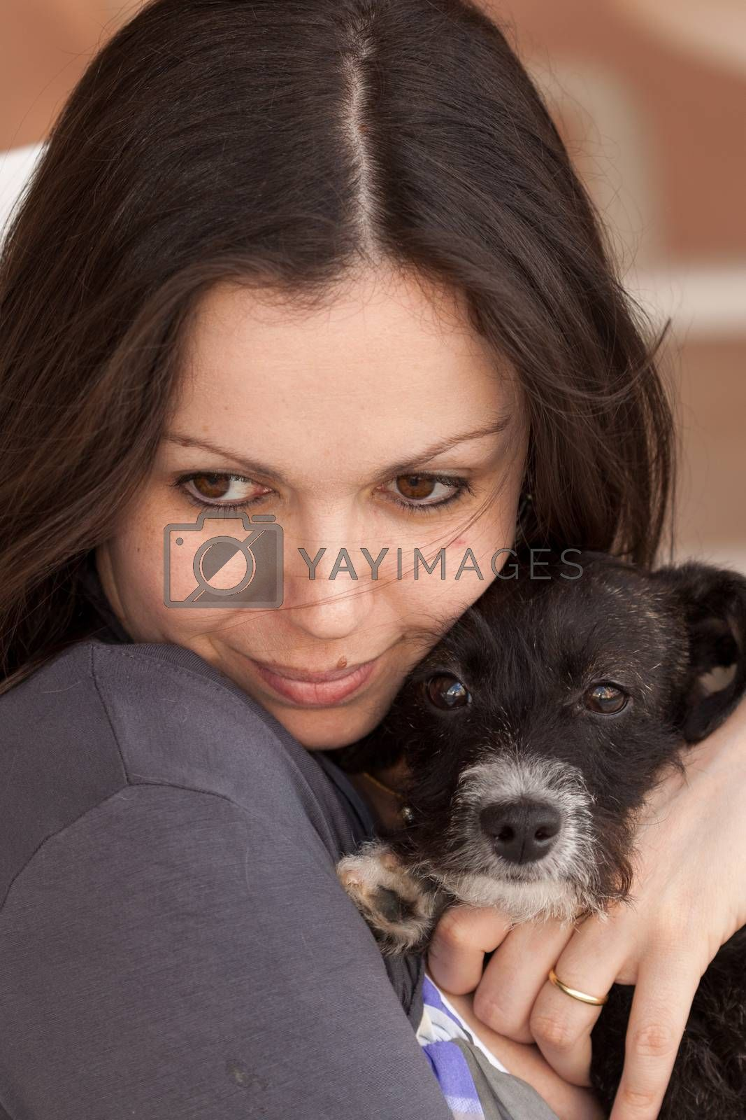 Woman with black dog - two best friends.