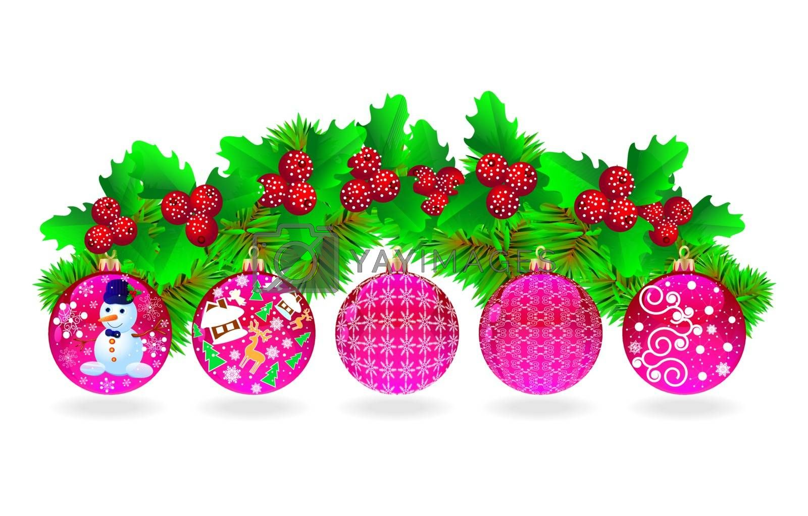 Festive set of Christmas balls, Christmas tree branches and berries.