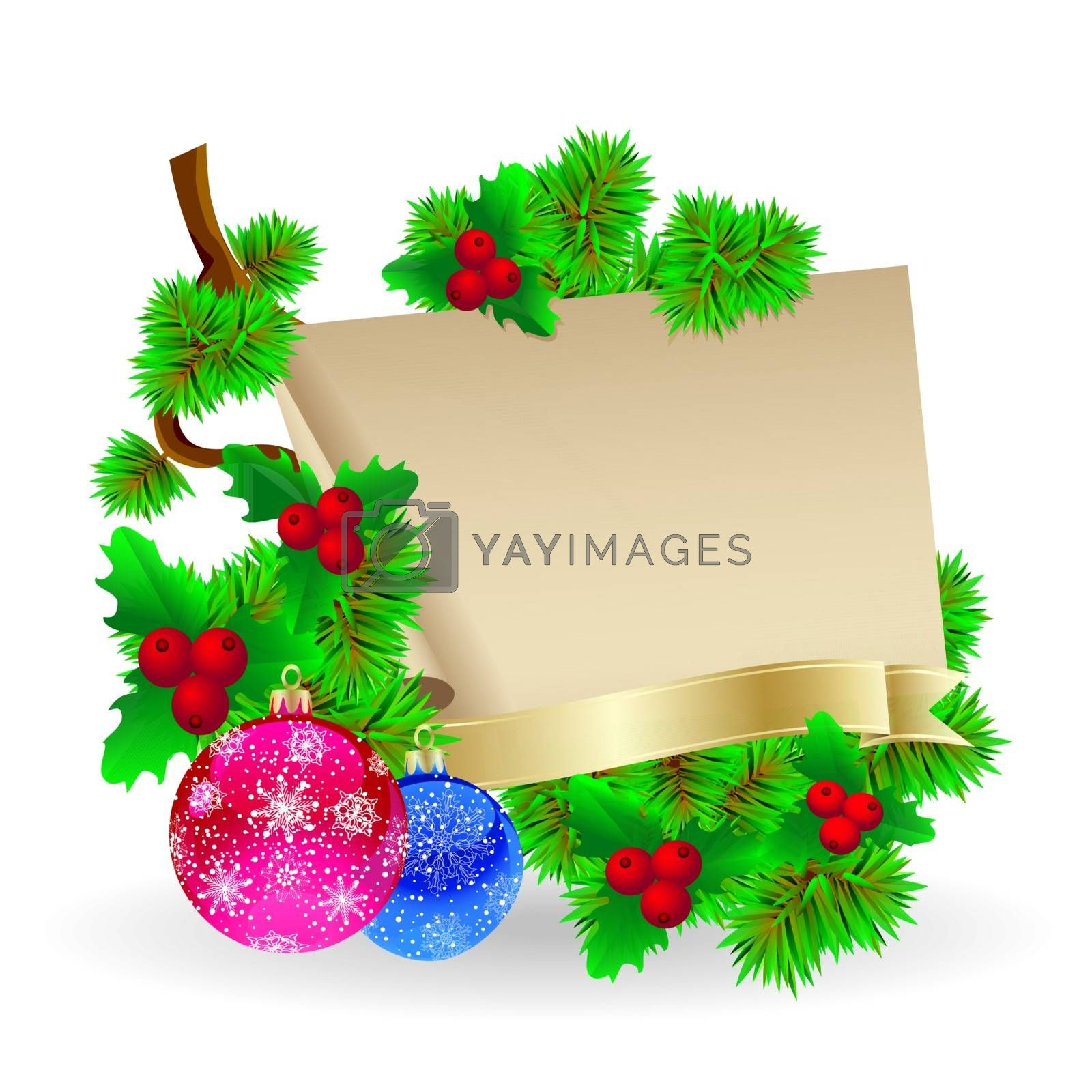 Festive composition of a sheet of paper for gifts and Christmas decorations.