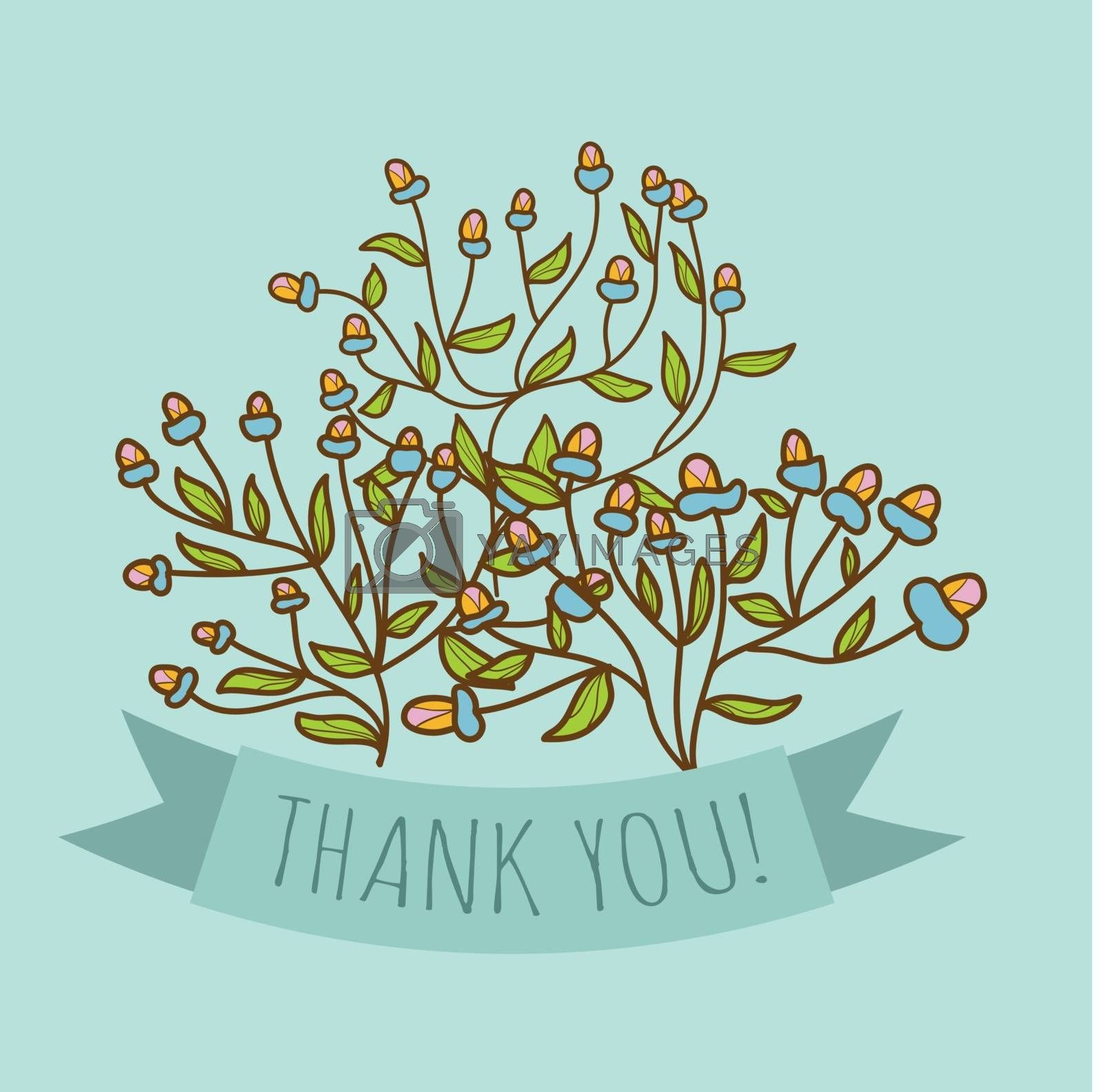 Thank you greeting card with bud flower