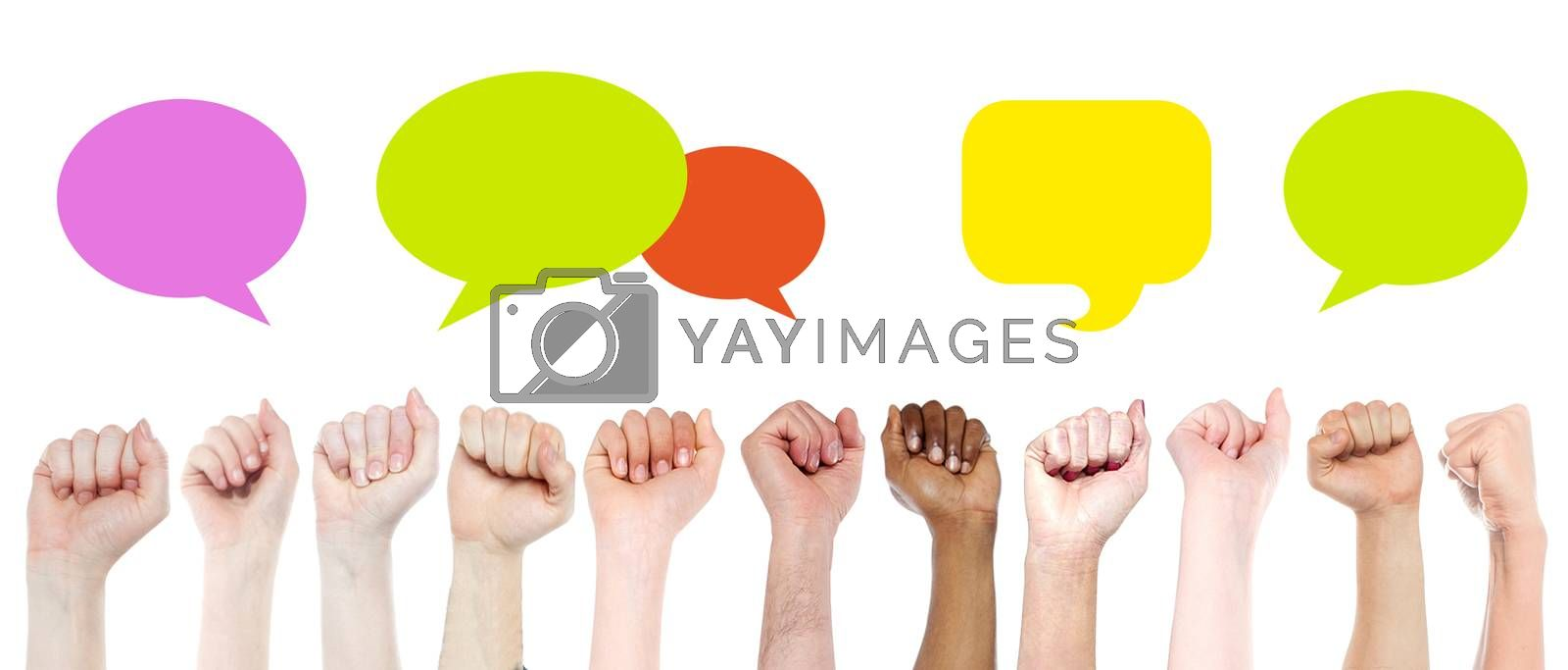 Clenching hands with multi colored speech bubbles